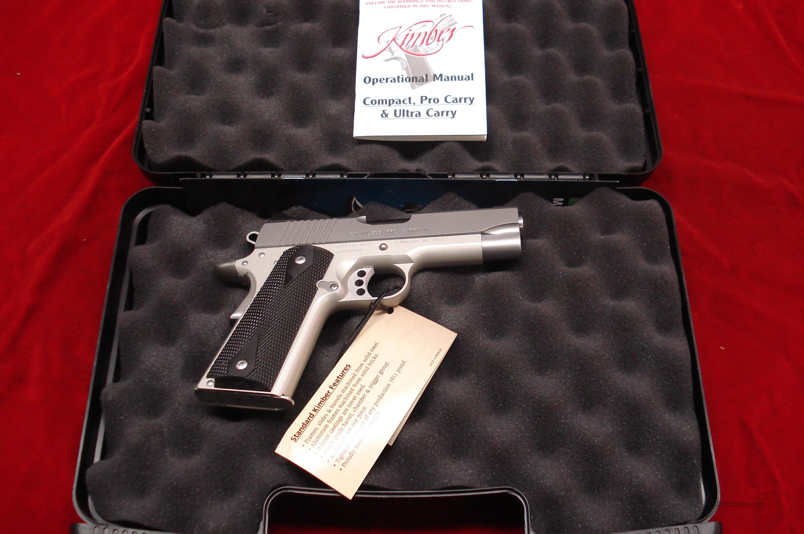 KIMBER STAINLESS PRO CARRY II 45acp NEW  Guns > Pistols > Kimber of America Pistols