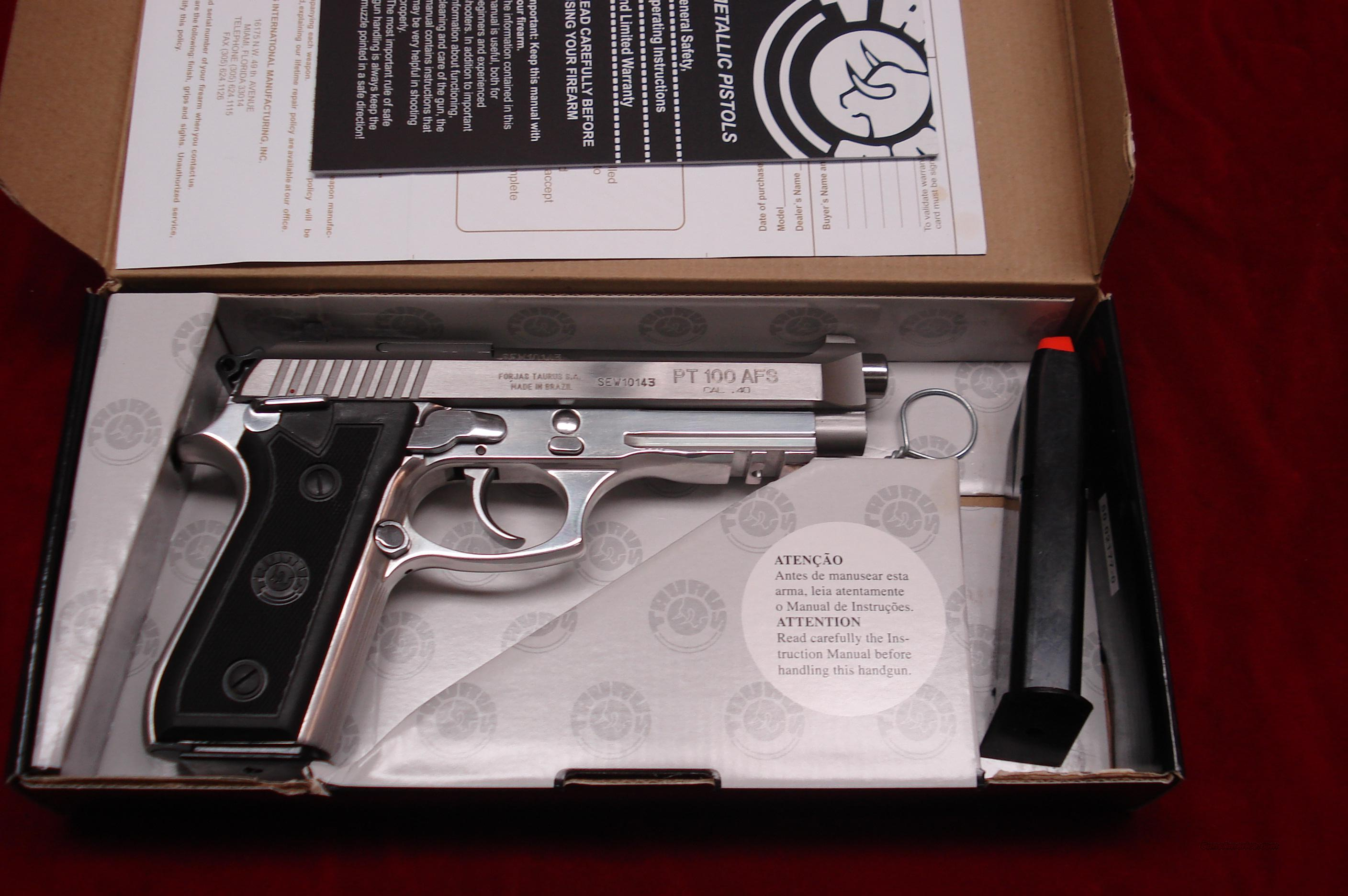 TAURUS PT 100 AFS STAINLESS .40CAL W/TAC RAIL NEW   Guns > Pistols > Taurus Pistols/Revolvers > Pistols > Steel Frame