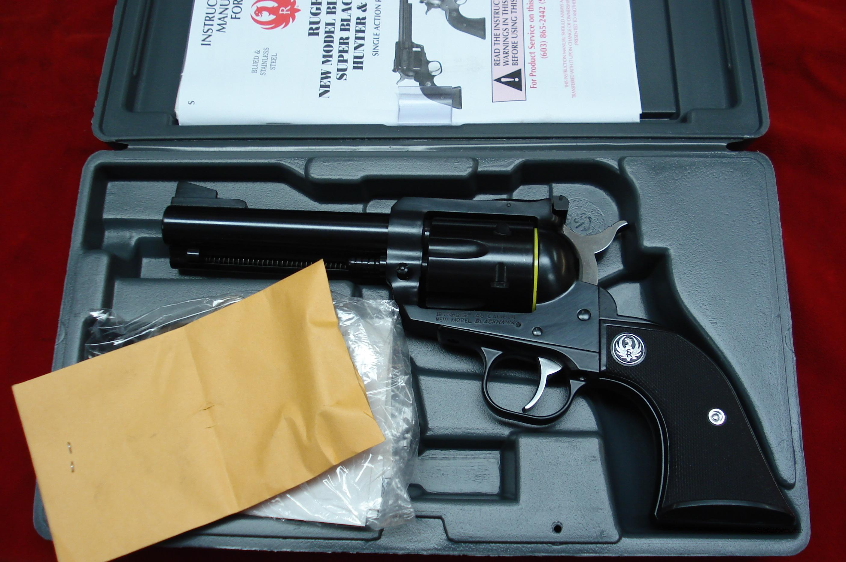 "RUGER NEW MODEL BLACKHAWK 45COLT 4 5/8"" BLUE NEW (BN-44L)  Guns > Pistols > Ruger Single Action Revolvers > Blackhawk Type"
