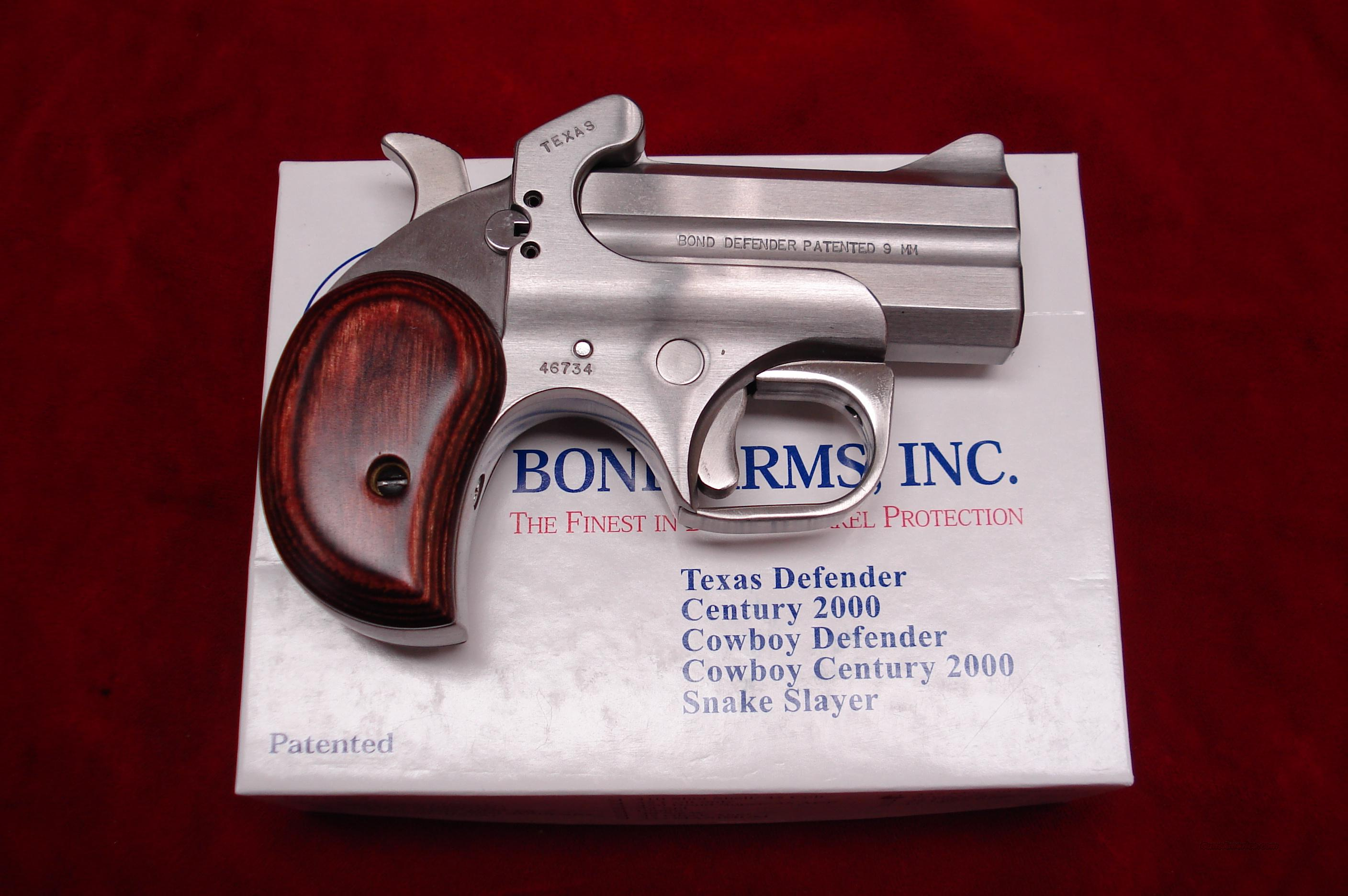 BOND ARMS TEXAS DEFENDER 9MM STAINLESS DERRINGER NEW  Guns > Pistols > Bond Derringers