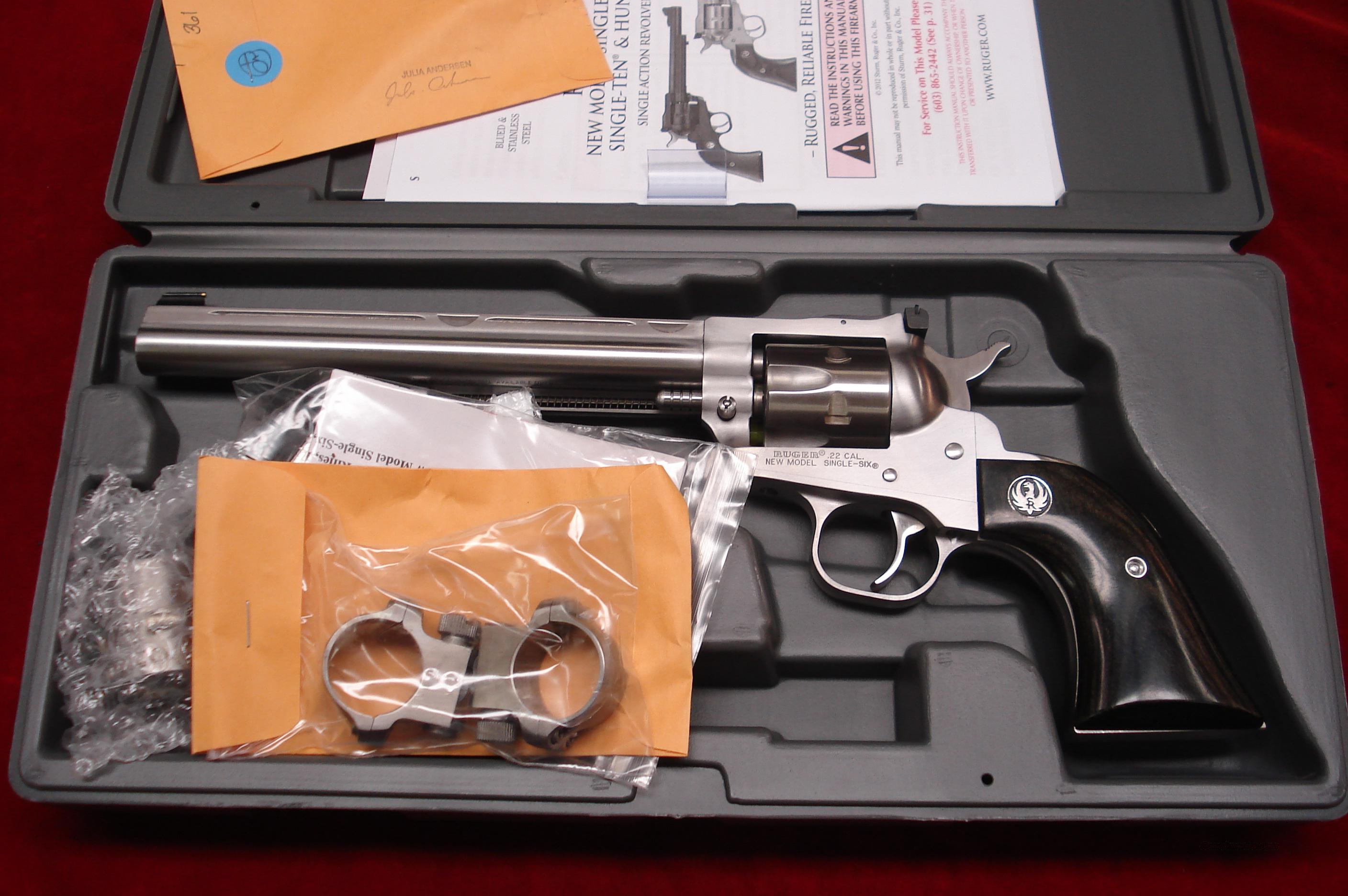 RUGER STAINLESS NEW MODEL SINGLE SIX HUNTER CONVERTABLE NEW (KNR7H)  Guns > Pistols > Ruger Single Action Revolvers > Single Six Type