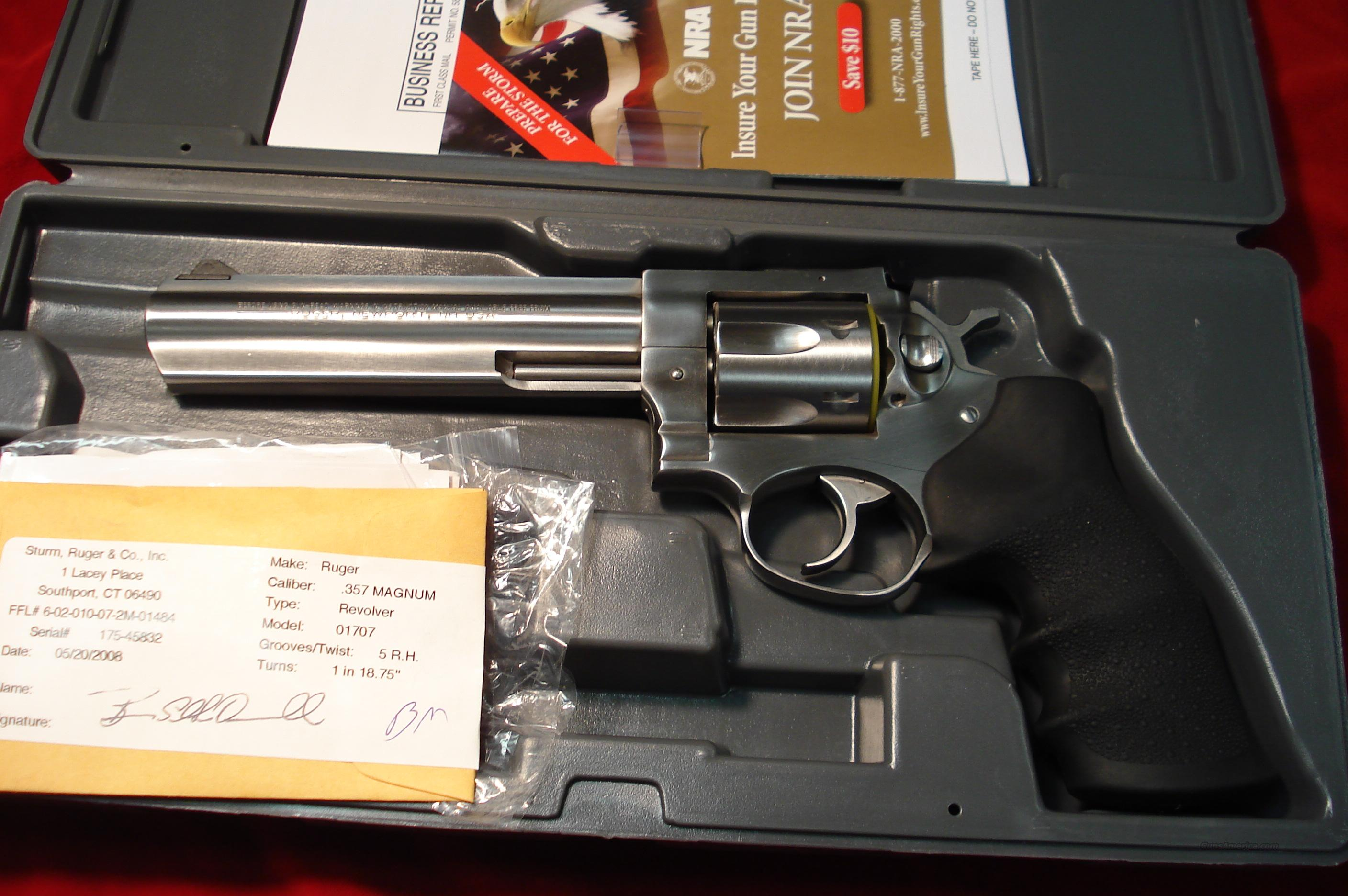 "RUGER  STAINLESS GP100 6"" 357MAG NEW   Guns > Pistols > Ruger Double Action Revolver > Security Six Type"