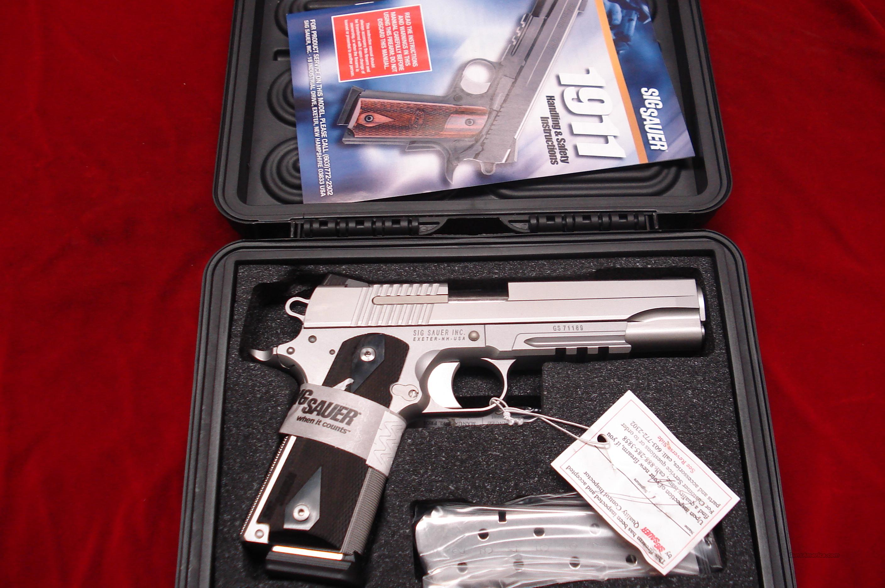 SIG SAUER STAINLESS 1911 WITH TAC RAIL AND NIGHT SIGHTS NEW   Guns > Pistols > Sig - Sauer/Sigarms Pistols > 1911