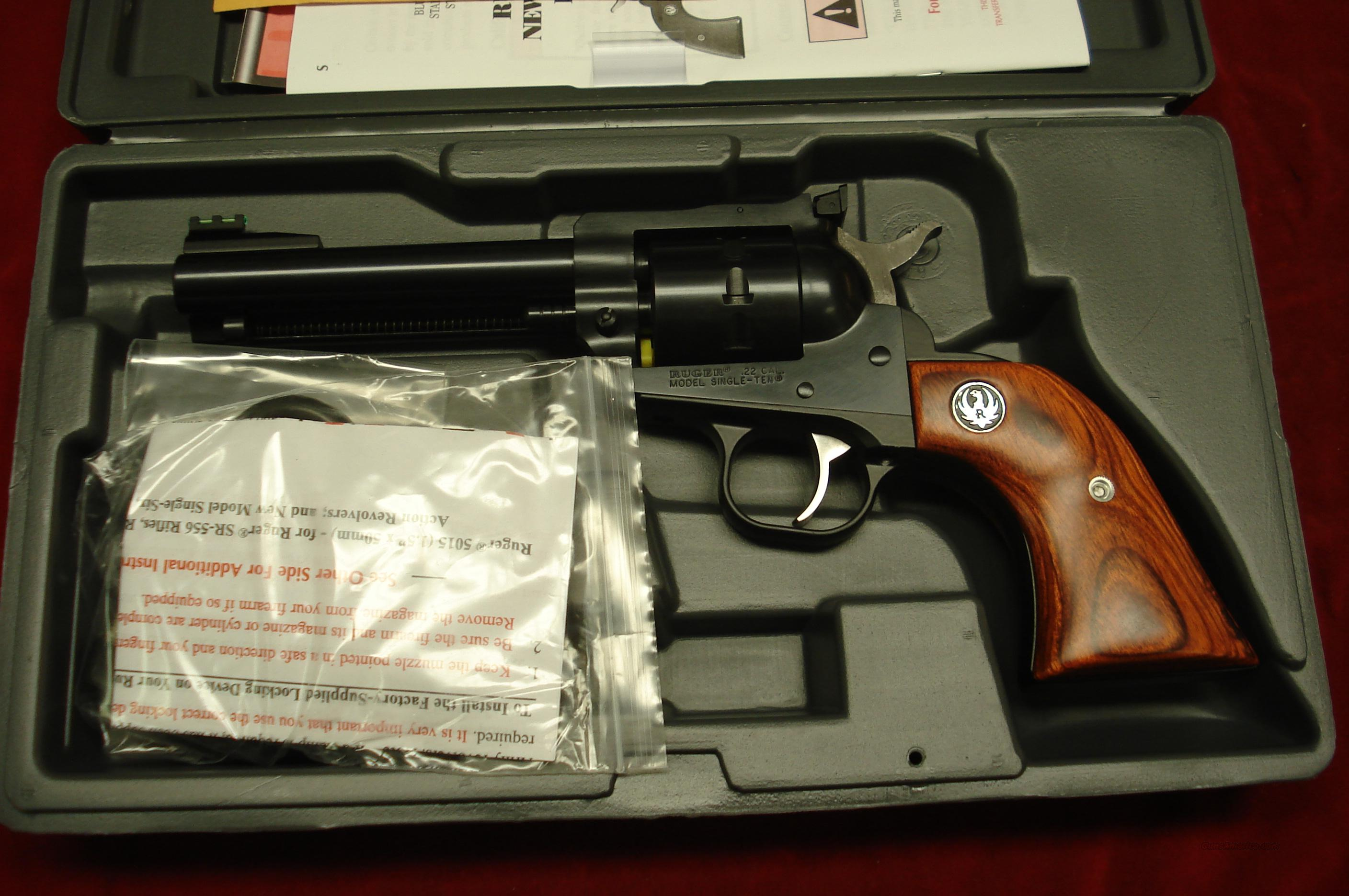 "RUGER SUPER SINGLE TEN 4 5/8"" BLUE 22 CAL. NEW (NR-4L-10)  Guns > Pistols > Ruger Single Action Revolvers > Single Six Type"