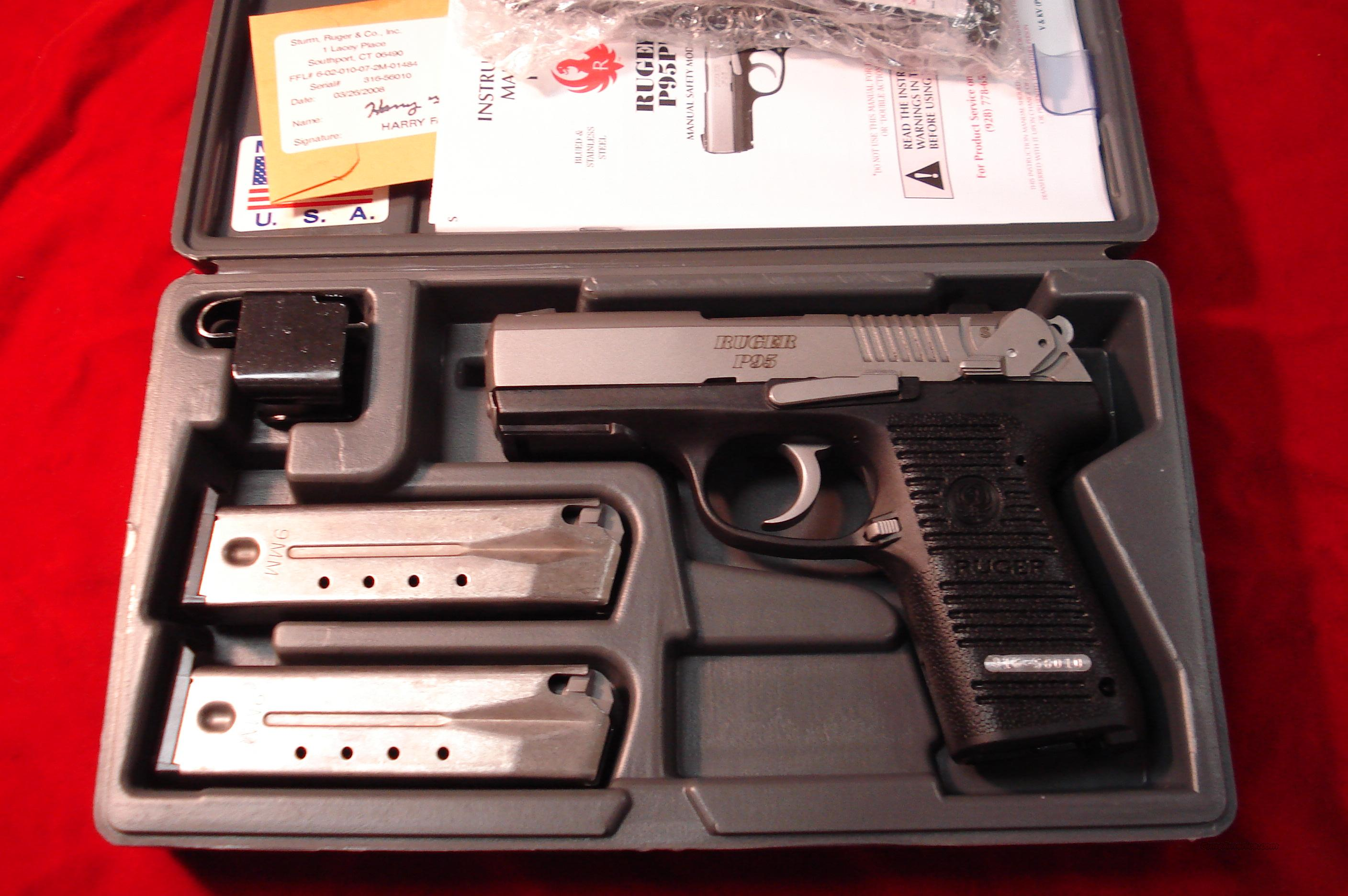 RUGER KP95 9MM STAINLESS W/RAIL NEW   (KP95PR15)  Guns > Pistols > Ruger Semi-Auto Pistols > P-Series