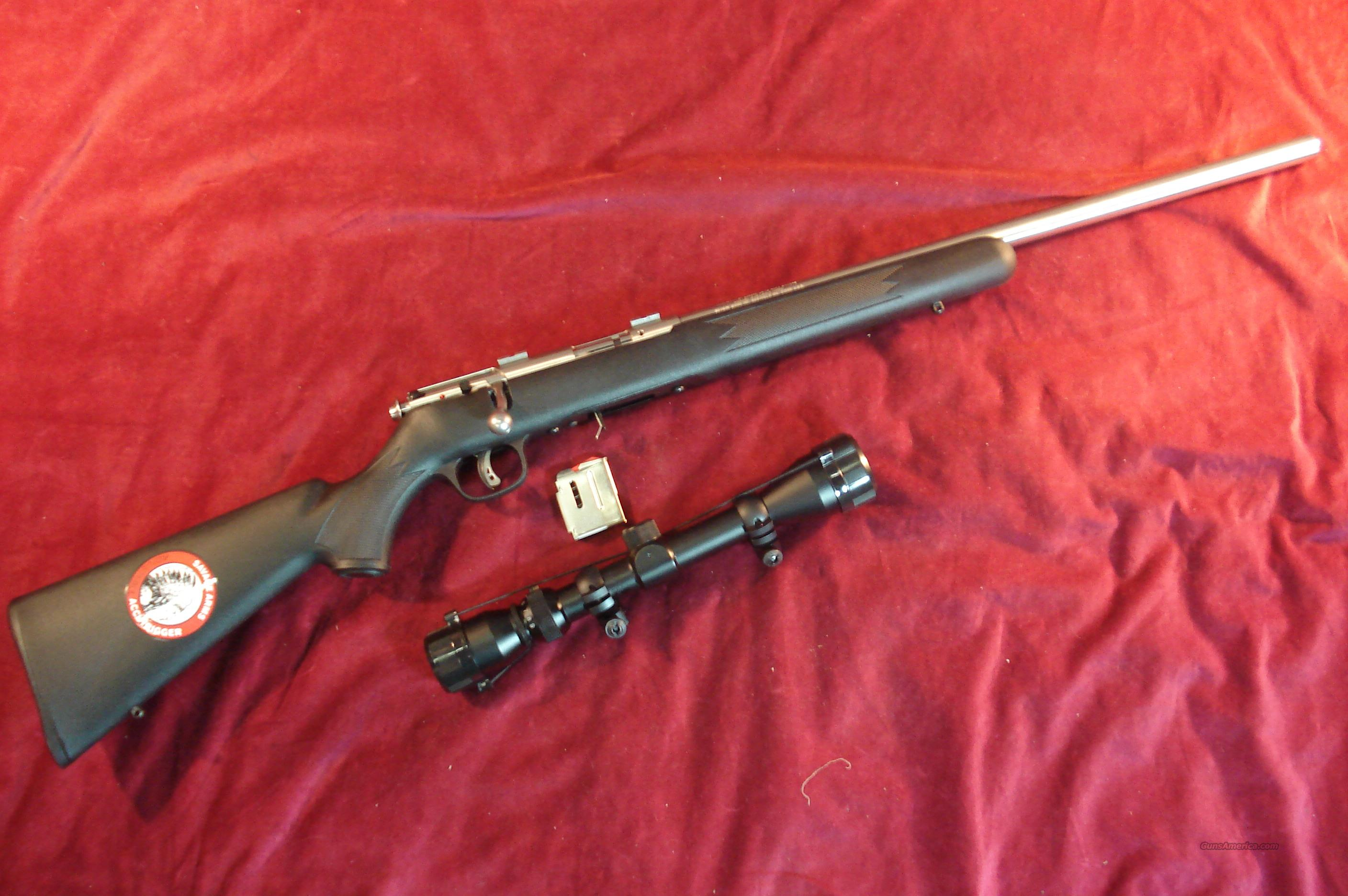SAVAGE 93R17 STAINLESS SYNTHETIC 17HMR CAL W/ 3X9 SCOPE NEW  Guns > Rifles > Savage Rifles > Accutrigger Models > Sporting
