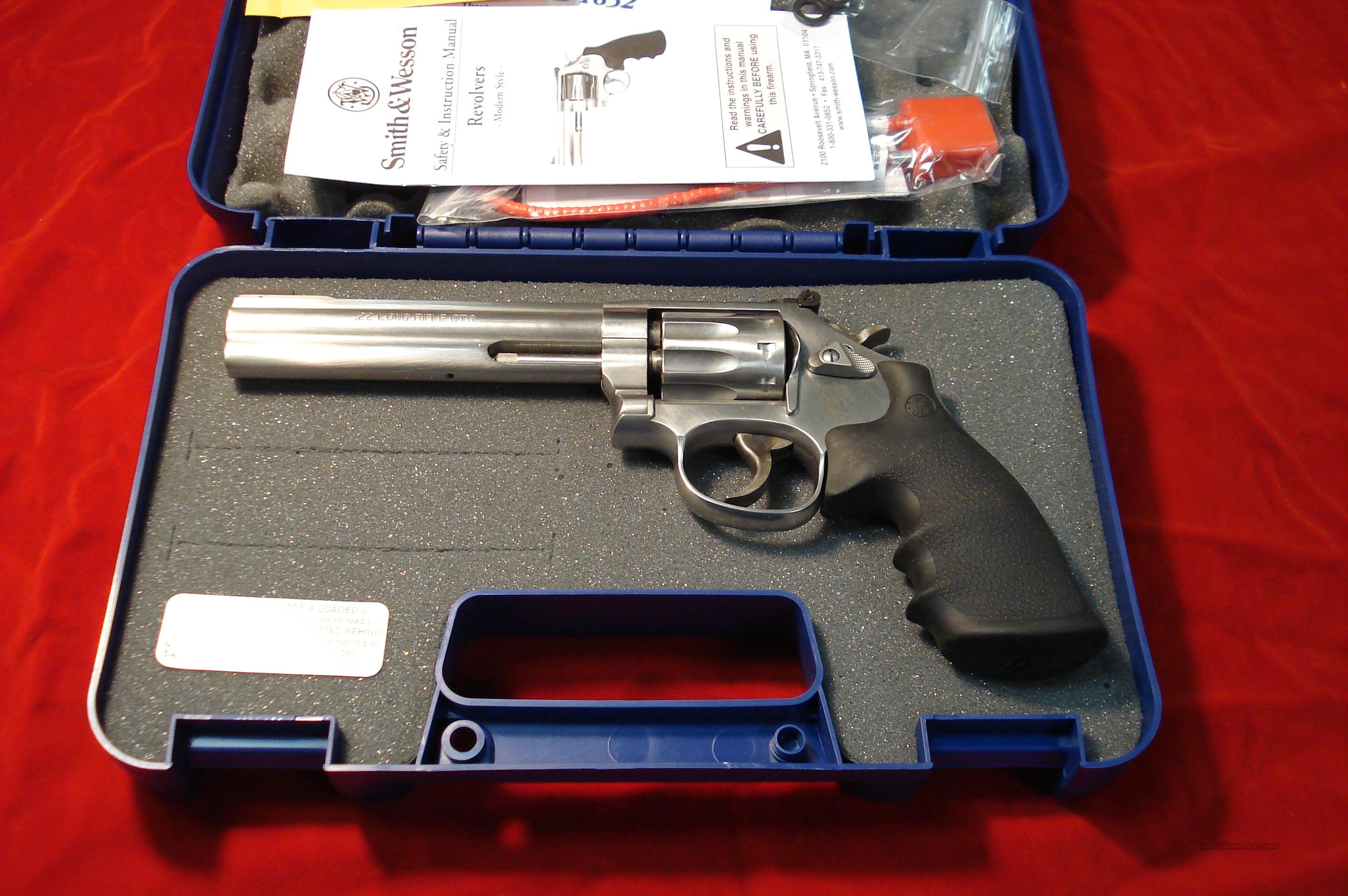 "SMITH AND WESSON 617 22CAL. STAINLESS 6"" 10 SHOT NEW    Guns > Pistols > Smith & Wesson Revolvers > Full Frame Revolver"