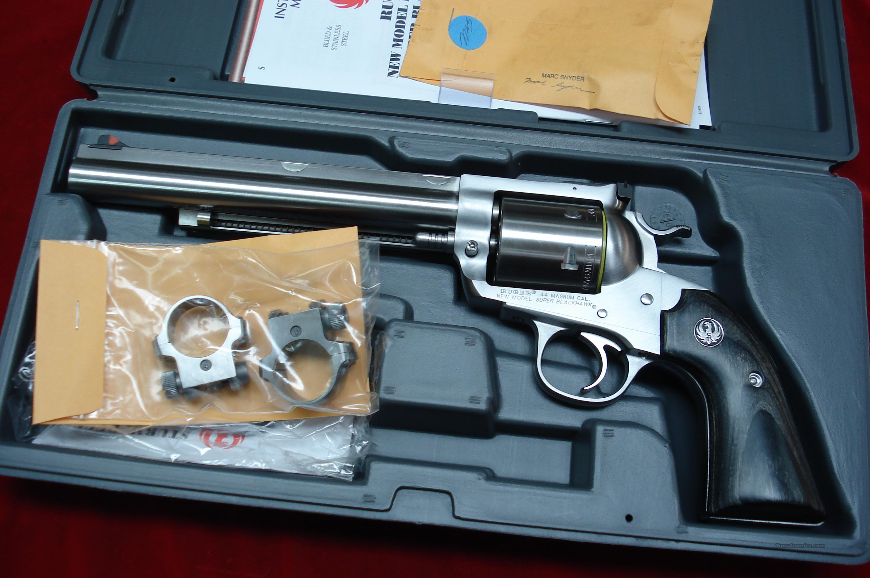 "RUGER BISLEY SUPER  BLACKHAWK HUNTER 7.5"" STAINLESS  44MAG WITH RINGS NEW  (KS-47NHB)  Guns > Pistols > Ruger Single Action Revolvers > Blackhawk Type"