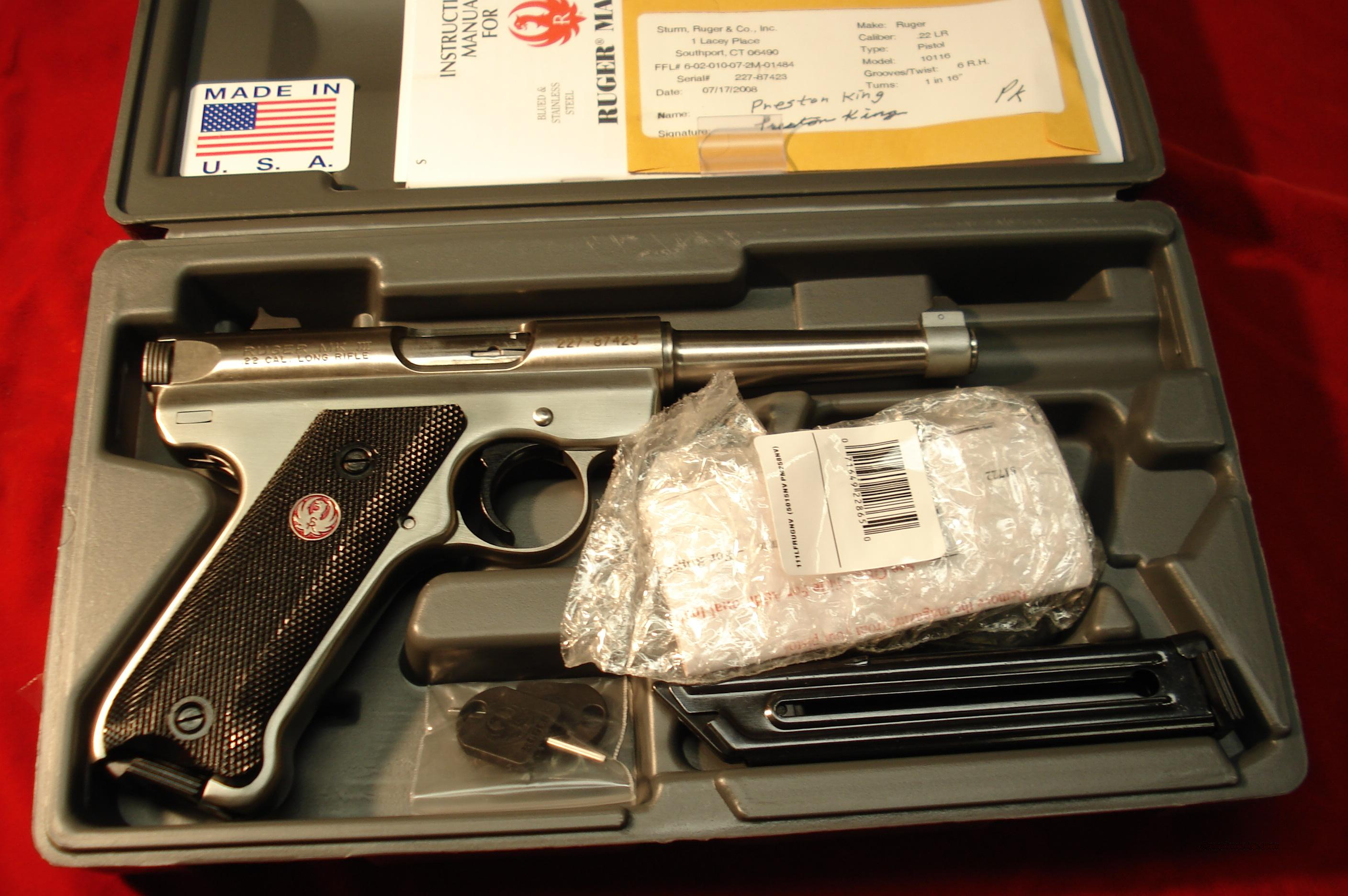 "RUGER MKIII 4"" STAINLESS NEW (KMKIII4)  Guns > Pistols > Ruger Semi-Auto Pistols > Mark I & II Family"