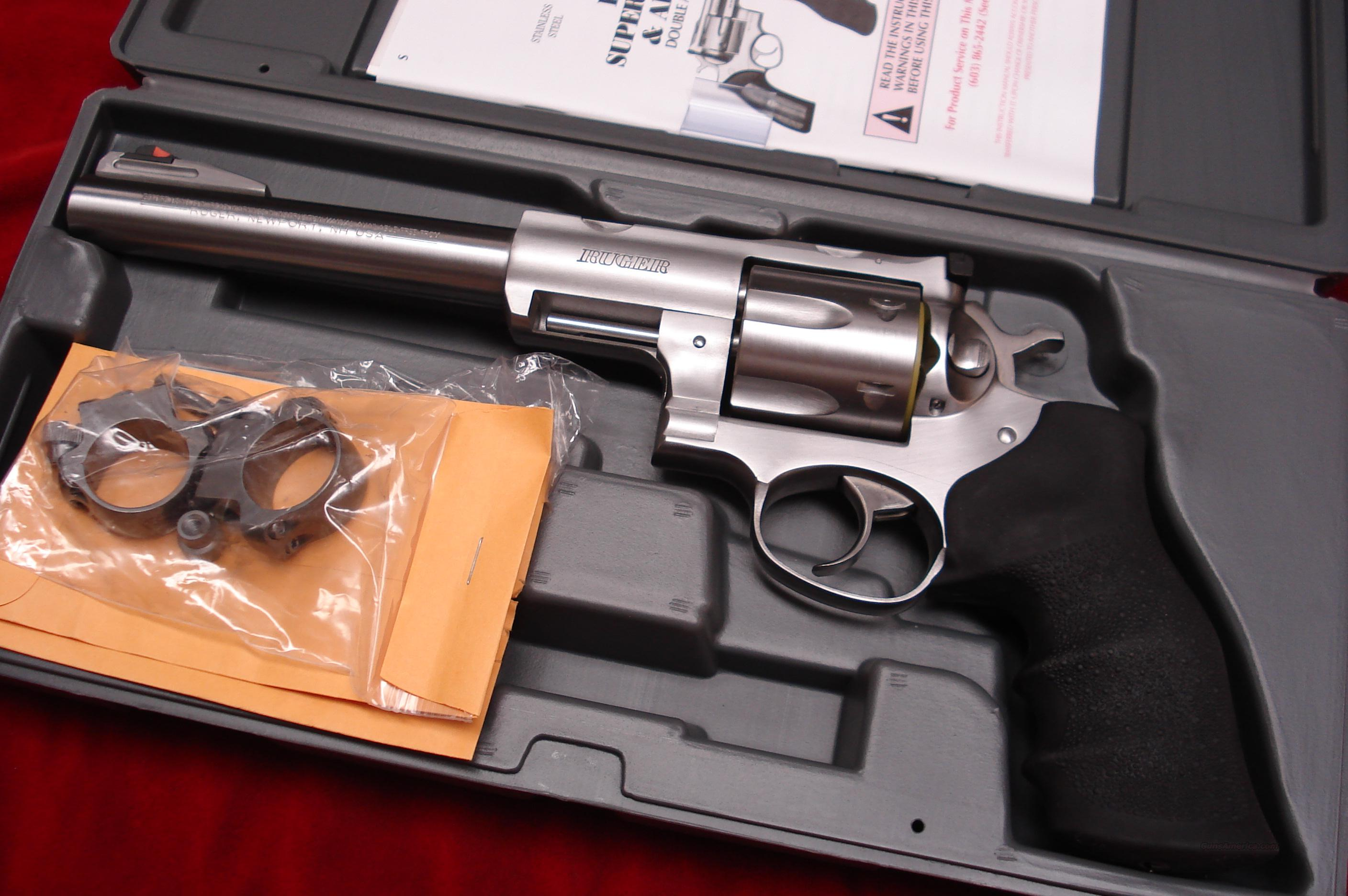 "RUGER SUPER REDHAWK HUNTER  7.5"" STAINLESS 44MAG. WITH RINGS NEW IN THE BOX (KSRH-7)  Guns > Pistols > Ruger Double Action Revolver > Redhawk Type"