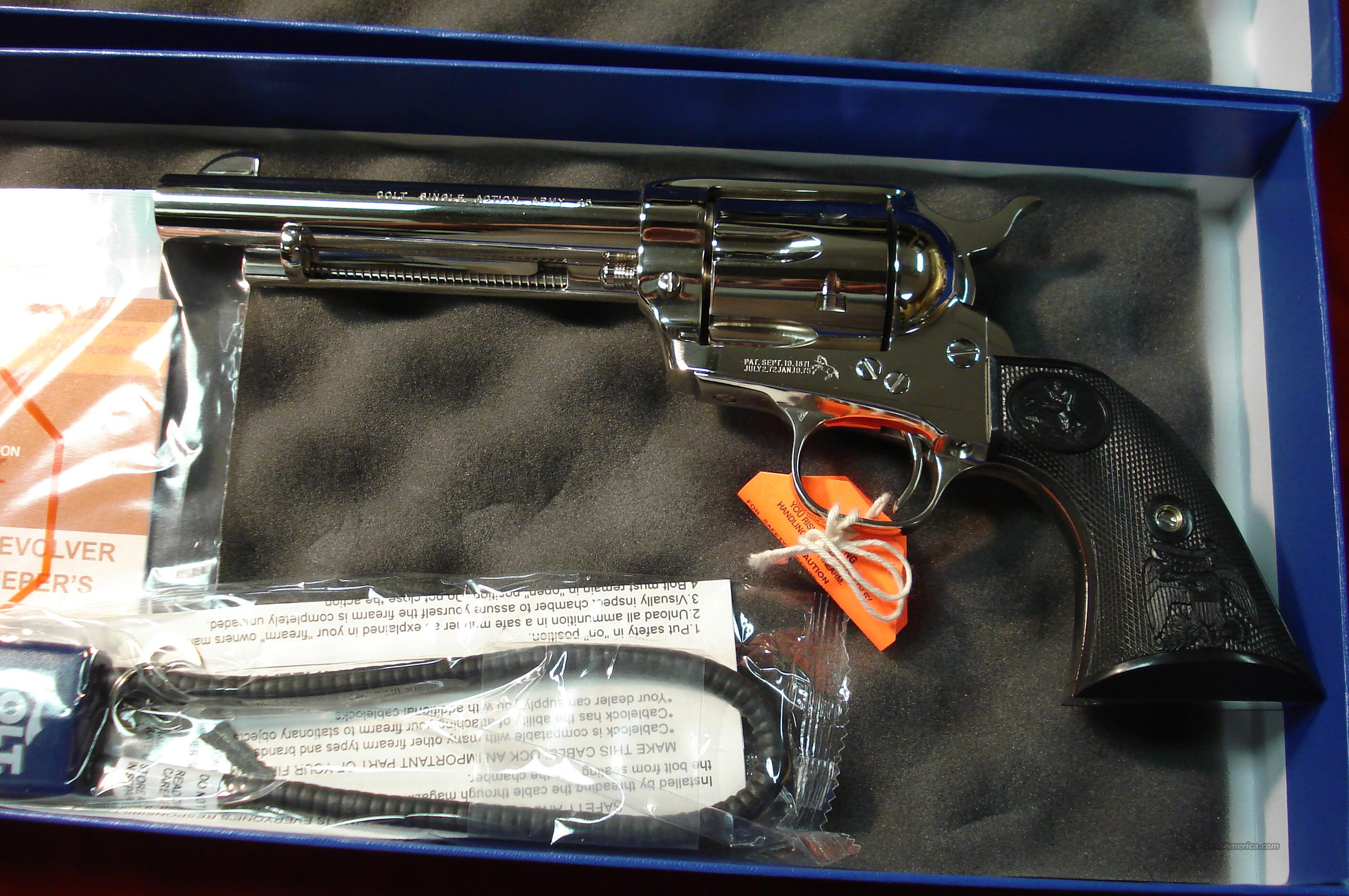 "COLT NEW SINGLE ACTION ARMY 45LC 5.5"" NICKEL NEW  Guns > Pistols > Colt Single Action Revolvers - 3rd Gen."