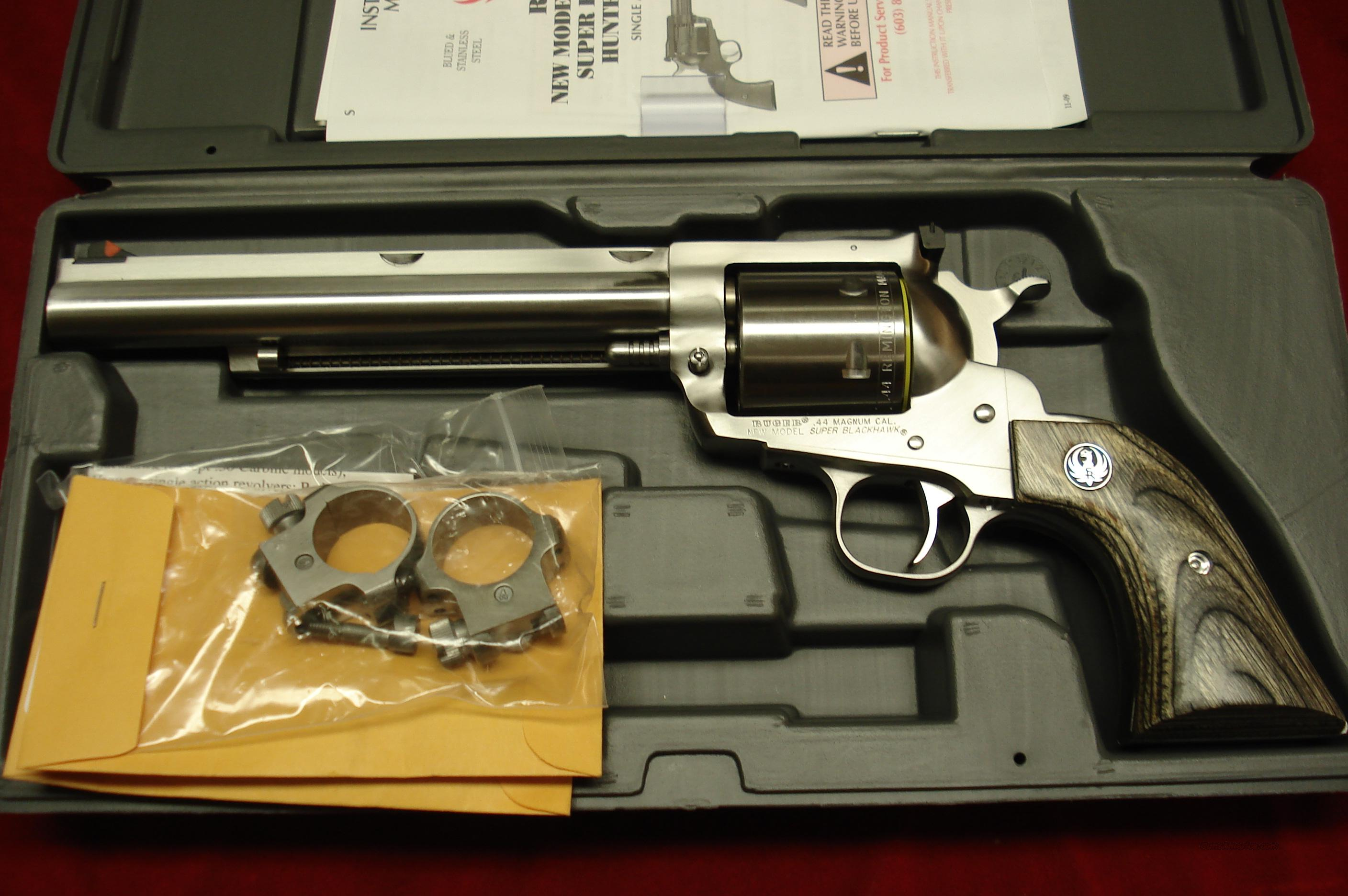RUGER STAINLESS SUPER BLACKHAWK HUNTER 44MAG NEW (KS-47NHNN)    Guns > Pistols > Ruger Single Action Revolvers > Blackhawk Type