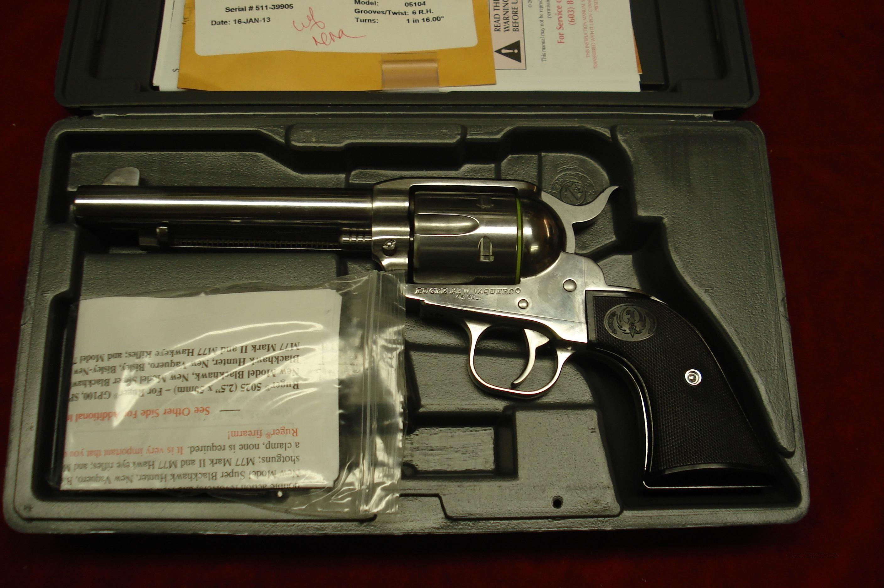 "RUGER POLISHED STAINLESS VAQUERO 45 COLT 5.5"" NEW (KNV-455)  Guns > Pistols > Ruger Single Action Revolvers > Cowboy Action"