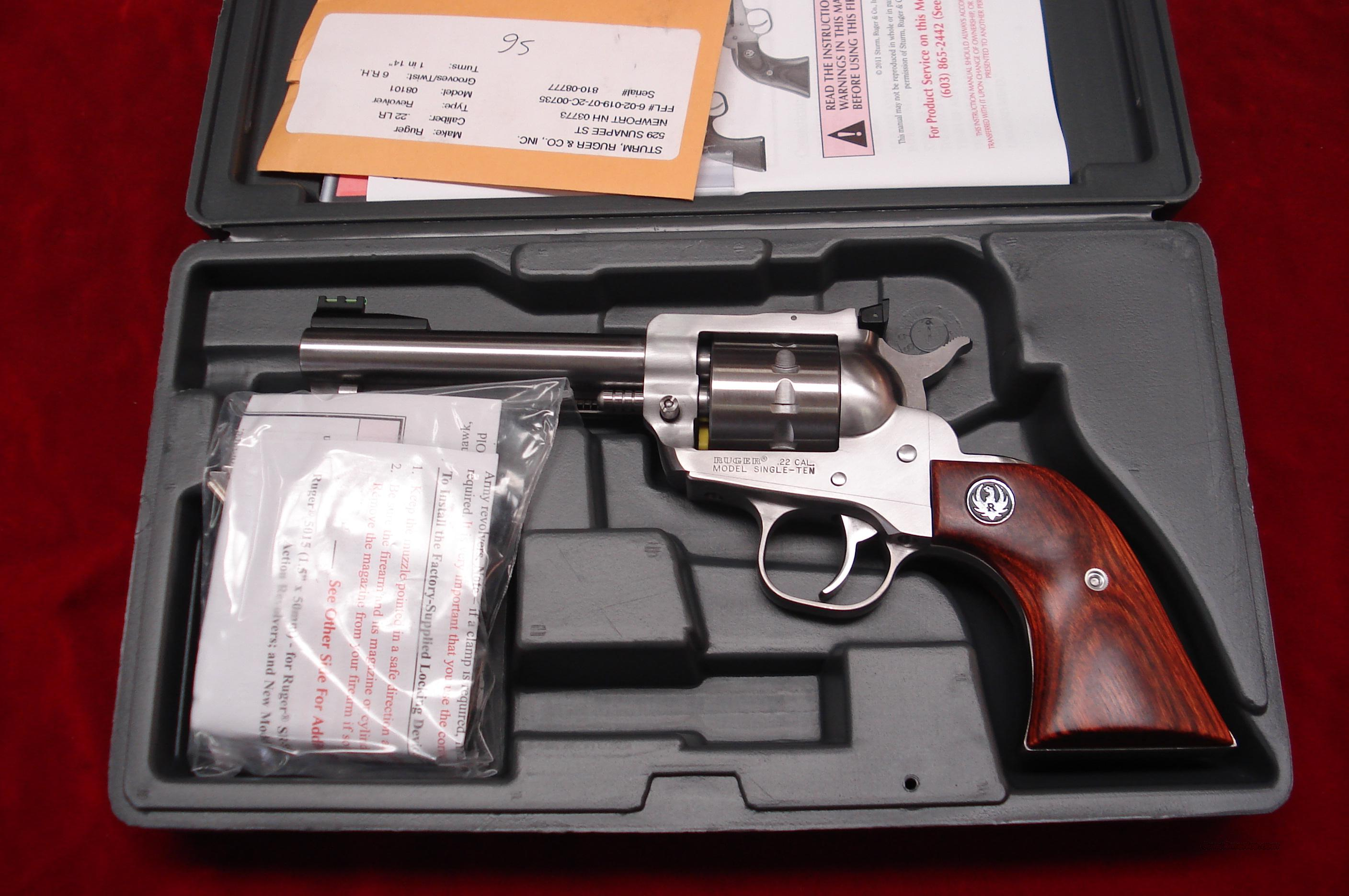"RUGER SUPER SINGLE TEN 4 5/8"" STAINLESS 22 CAL. NEW (KNR-4-10)  Guns > Pistols > Ruger Single Action Revolvers > Single Six Type"