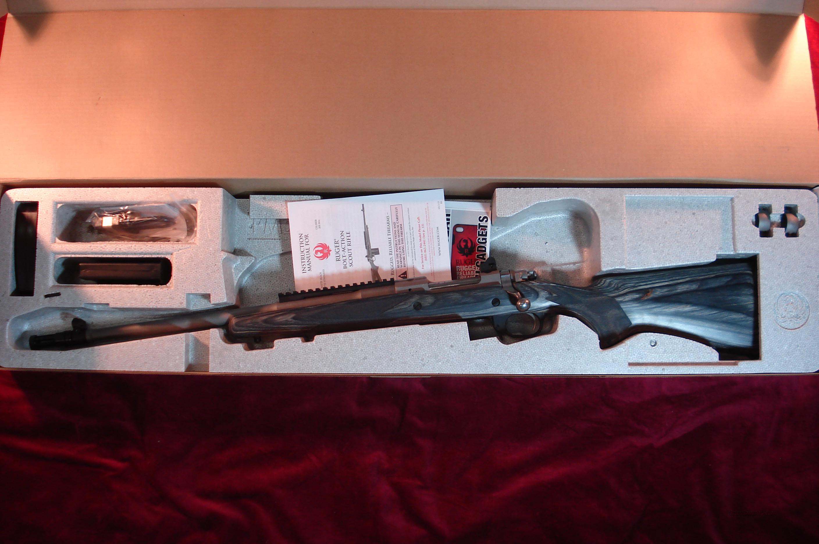 RUGER GUNSITE SCOUT STAINLESS LEFT HAND 308CAL NEW (M77)  Guns > Rifles > Ruger Rifles > Model 77