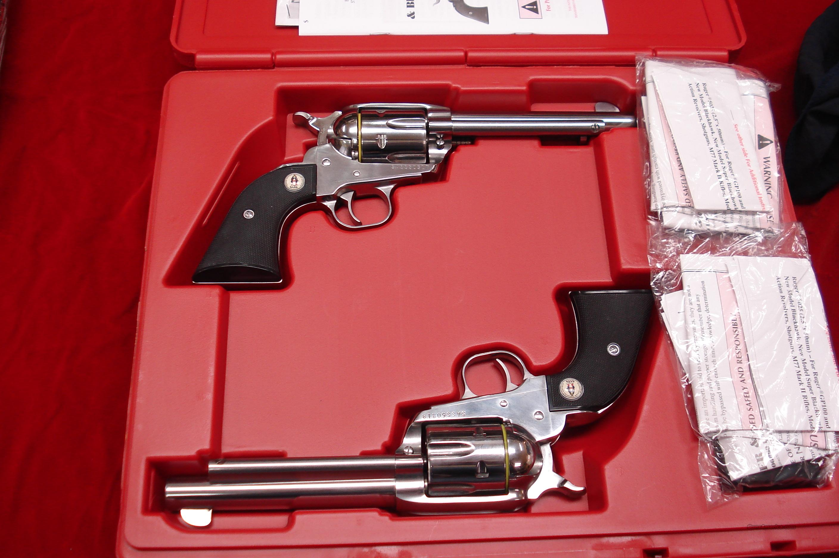RUGER SASS VAQUERO MATCHED SET POLISHED STAINLESS .45 COLT CAL. NEW  (05134)   Guns > Pistols > Ruger Single Action Revolvers > Cowboy Action
