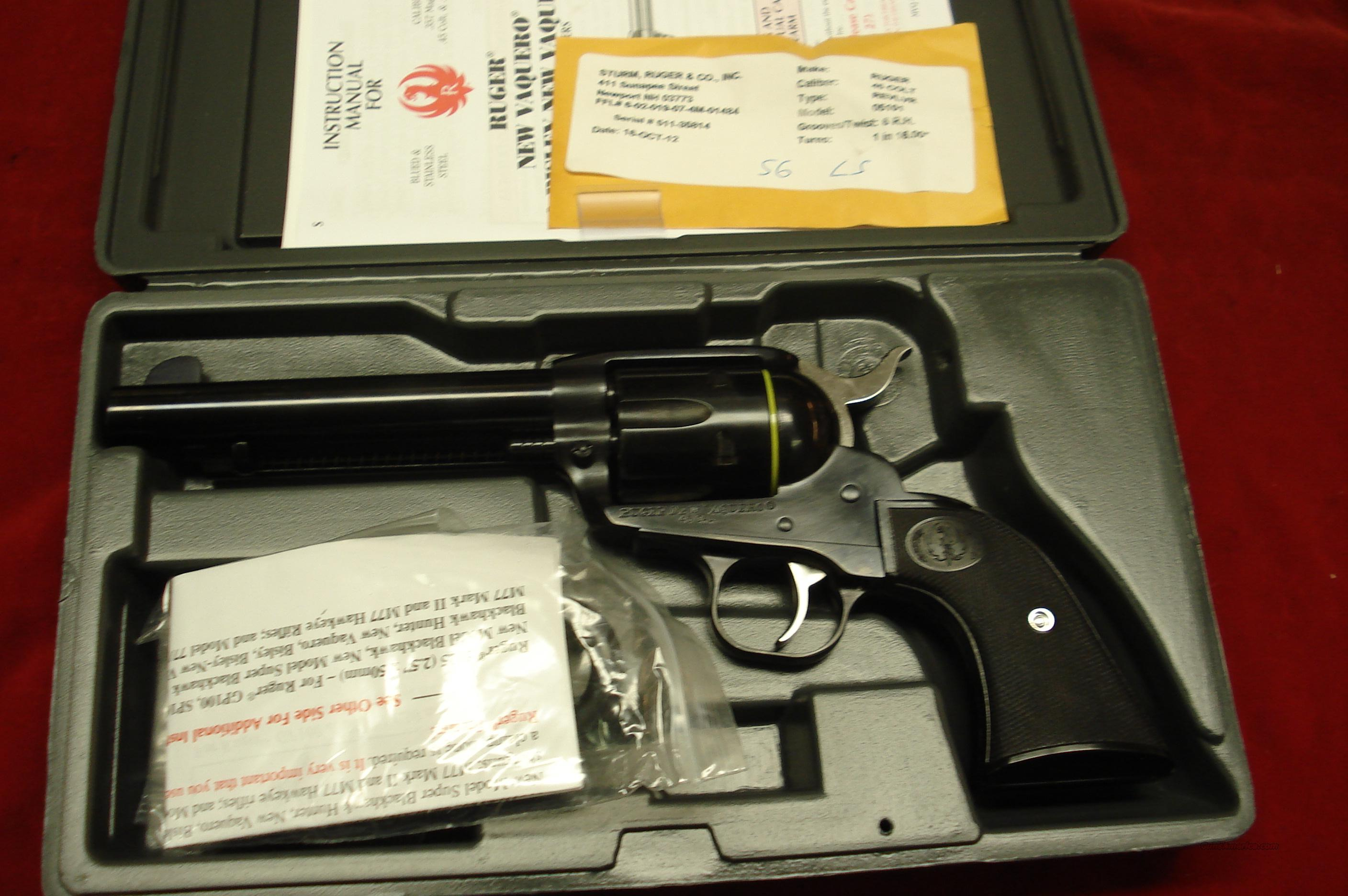 "RUGER VAQUERO BLUE 45 COLT 5.5"" NEW (NV-455)  Guns > Pistols > Ruger Single Action Revolvers > Cowboy Action"