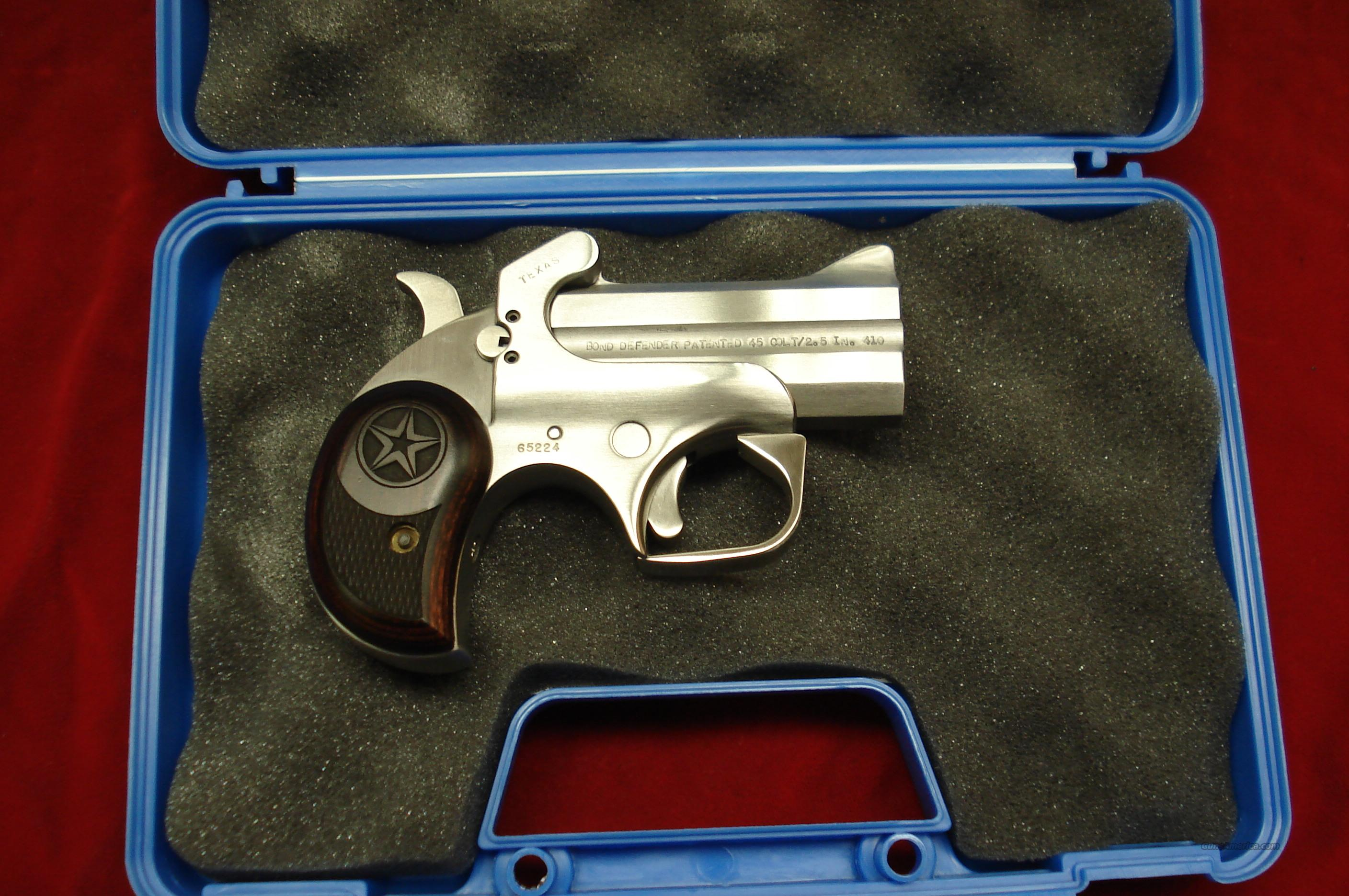 BOND ARMS TEXAS DEFENDER 410G/45COLT STAINLESS DERRINGER NEW  Guns > Pistols > Bond Derringers