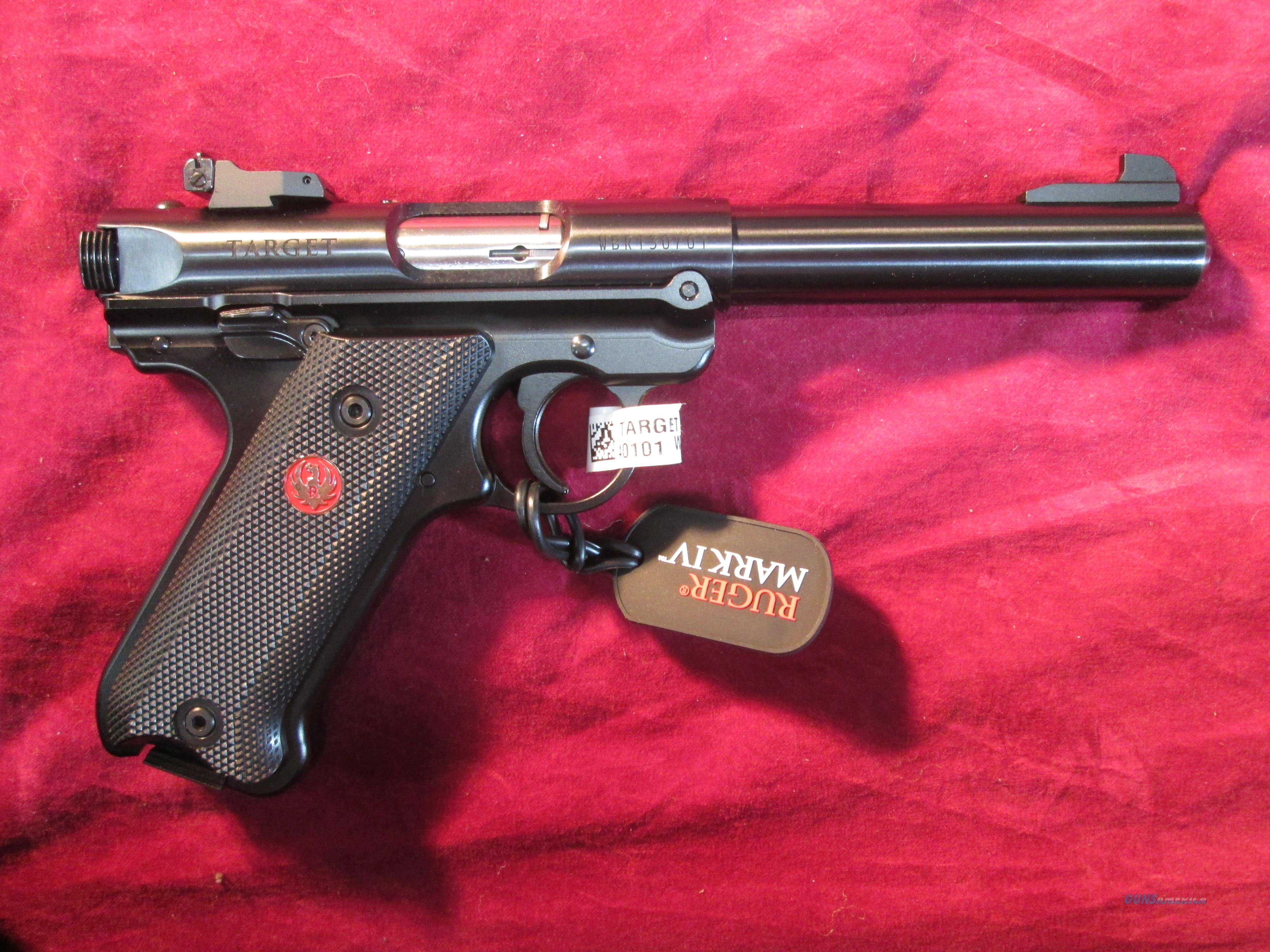 "RUGER MARK IV 5.5"" TARGET BLACK 22LR NEW (40101)  Guns > Pistols > Ruger Semi-Auto Pistols > Mark I/II/III/IV Family"