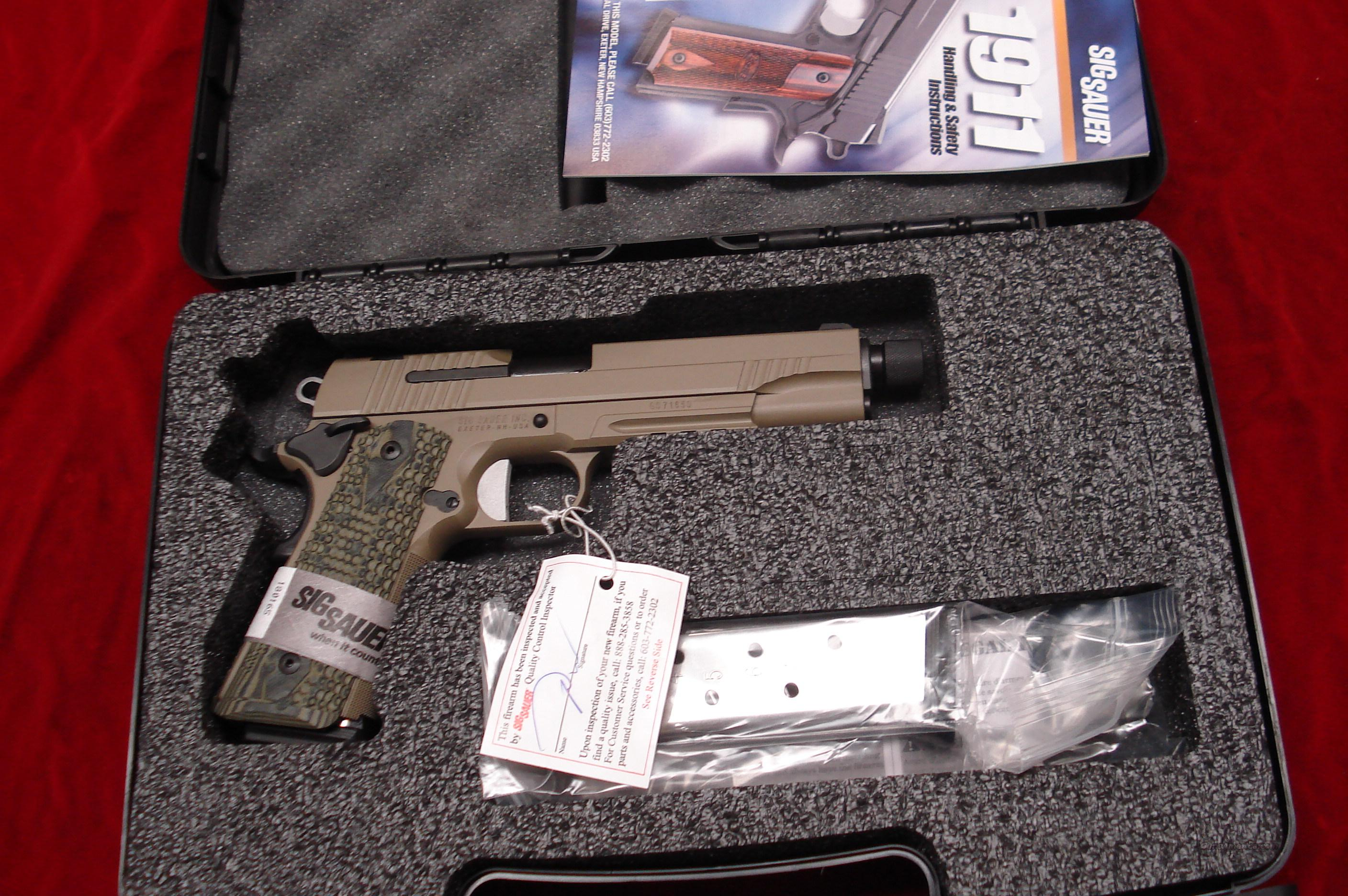 SIG SAUER 1911 SCORPION FLAT DARK EARTH THREADED BARREL WITH TAC RAIL AND NIGHT SIGHTS NEW  Guns > Pistols > Sig - Sauer/Sigarms Pistols > 1911