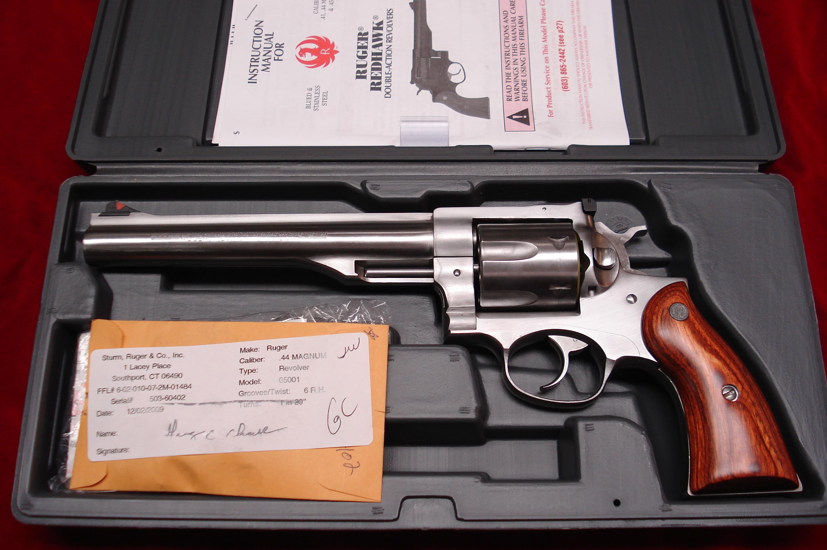"RUGER NEW MODEL REDHAWK 44MAG. 7.5"" STAINLESS NEW (KRH-44)  Guns > Pistols > Ruger Double Action Revolver > Redhawk Type"