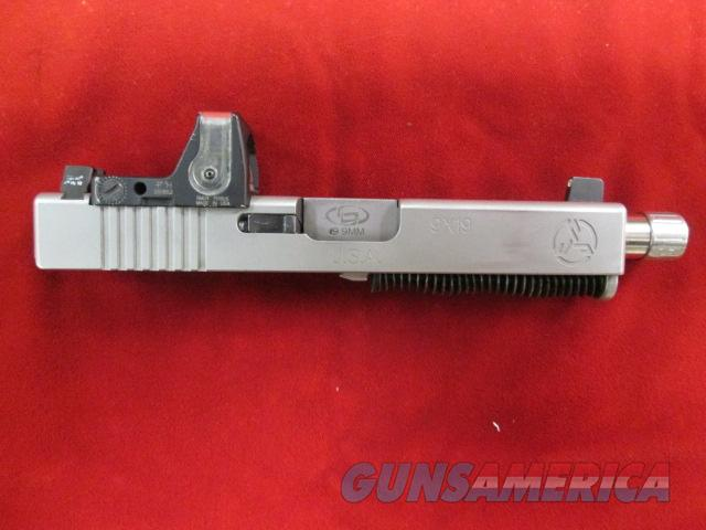 GLOCK 19 SLIDE AND BARREL, STAINLESS STEEL W/ THREADED BARREL AND TRIJICON RMR SIGHT USED  Guns > Pistols > Glock Pistols > 19