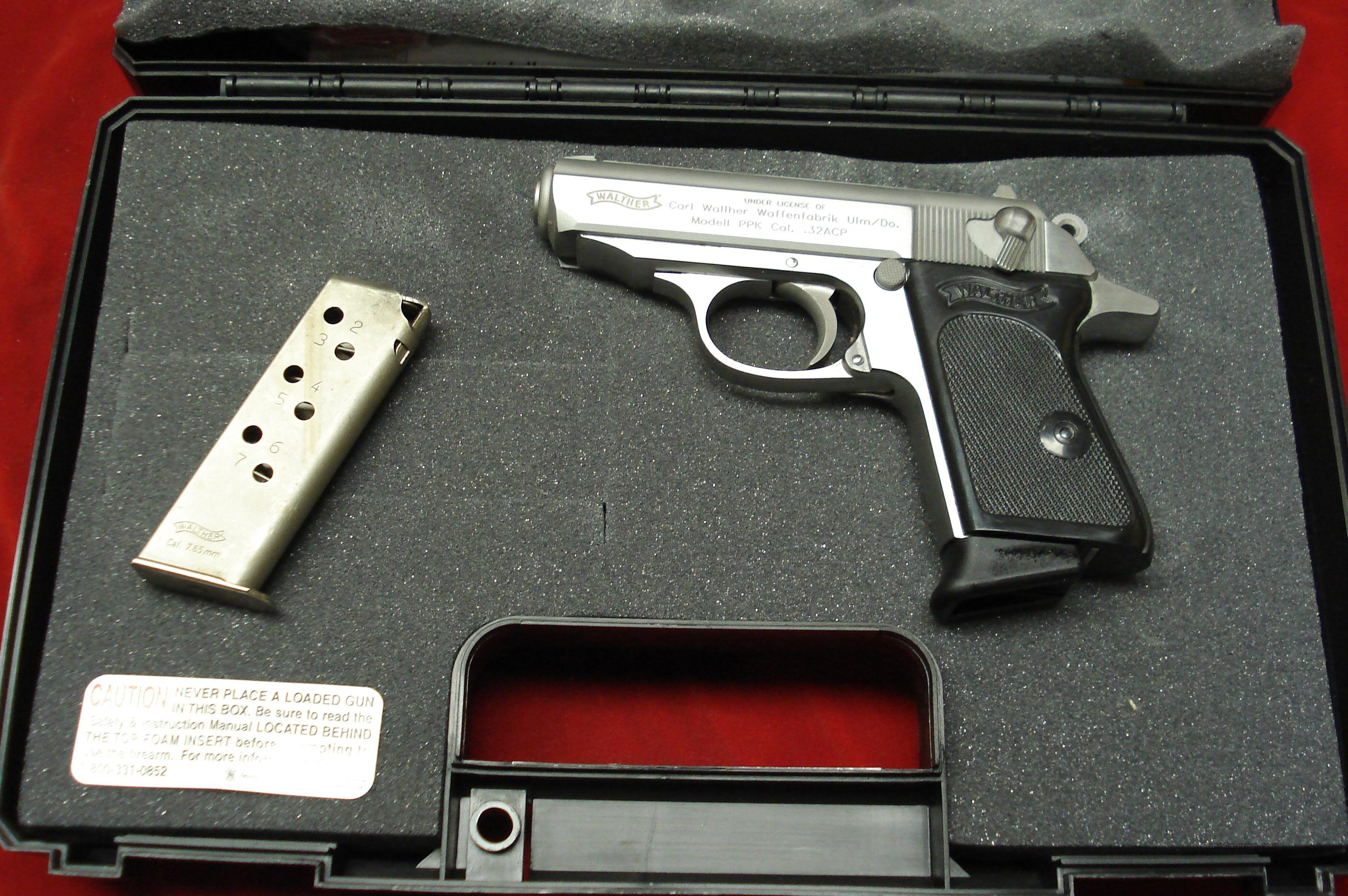 WALTHER PPK STAINLESS 32 CAL. NEW  (FACTORY RECALL SERVICED)    Guns > Pistols > Walther Pistols > Post WWII > PP Series