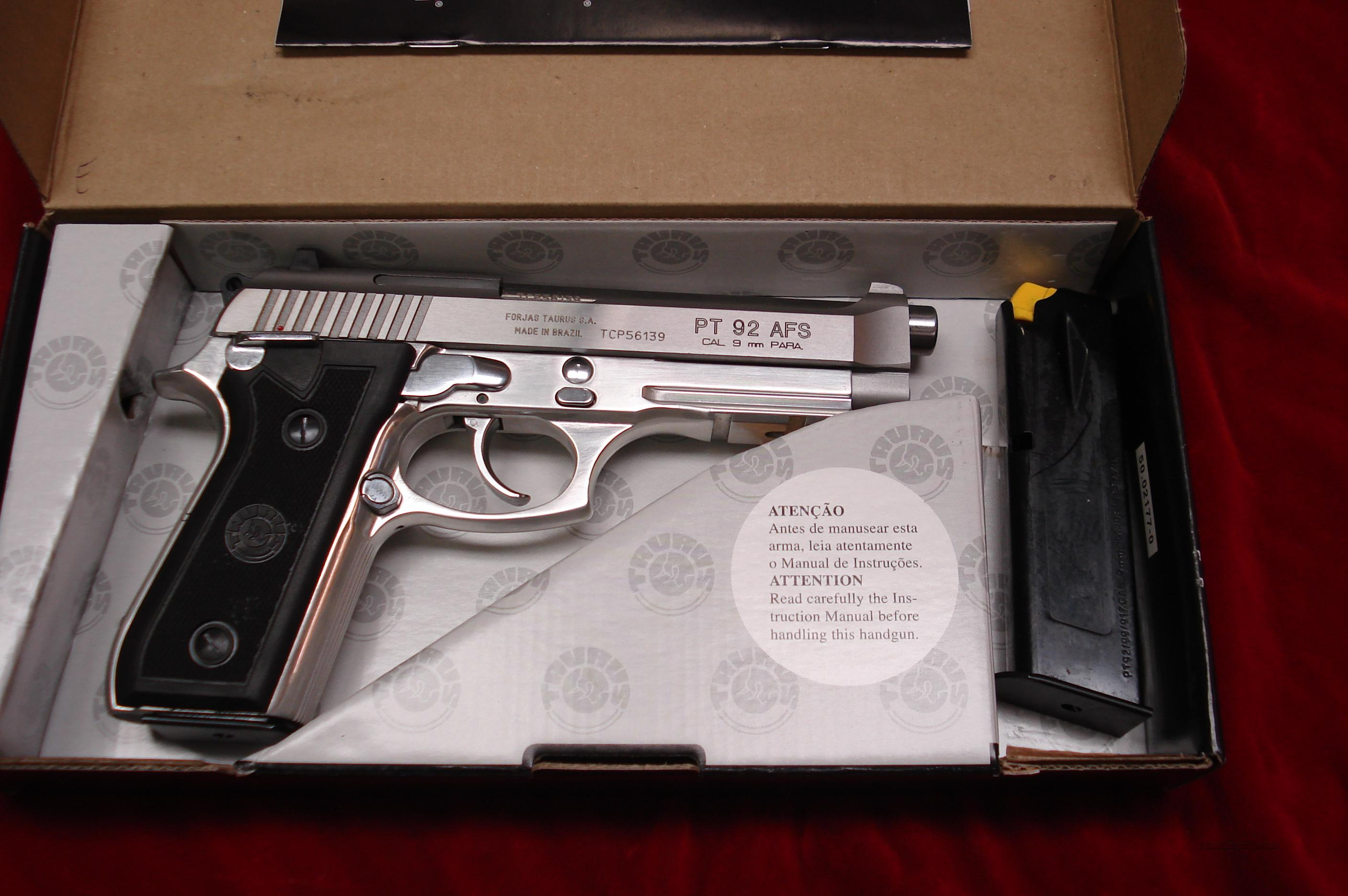 TAURUS PT 92 AFS STAINLESS 9MM WITH TAC RAIL NEW   Guns > Pistols > Taurus Pistols/Revolvers > Pistols > Steel Frame