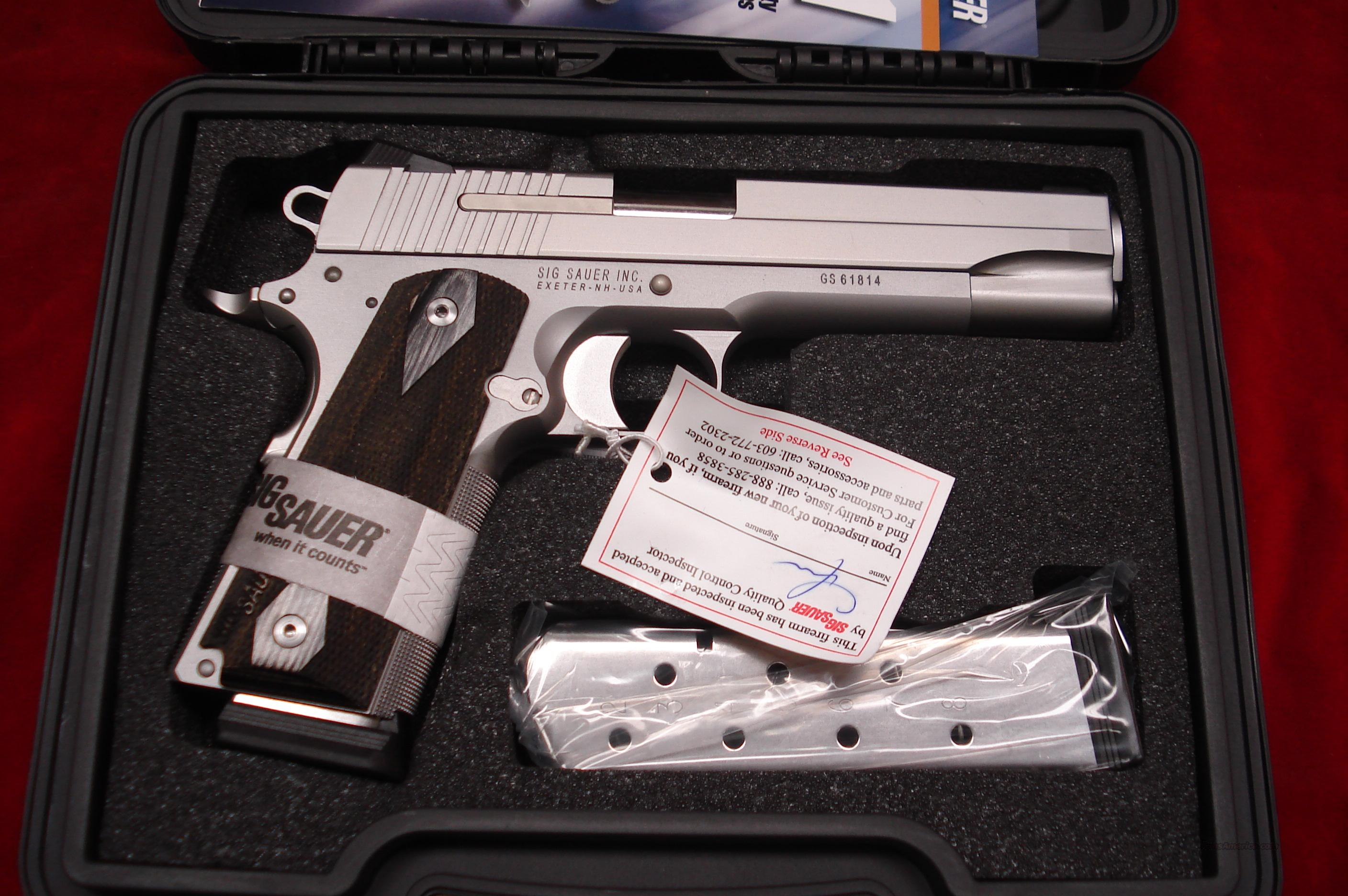 SIG SAUER STAINLESS 1911 WITH NIGHT SIGHTS NEW   Guns > Pistols > Sig - Sauer/Sigarms Pistols > 1911