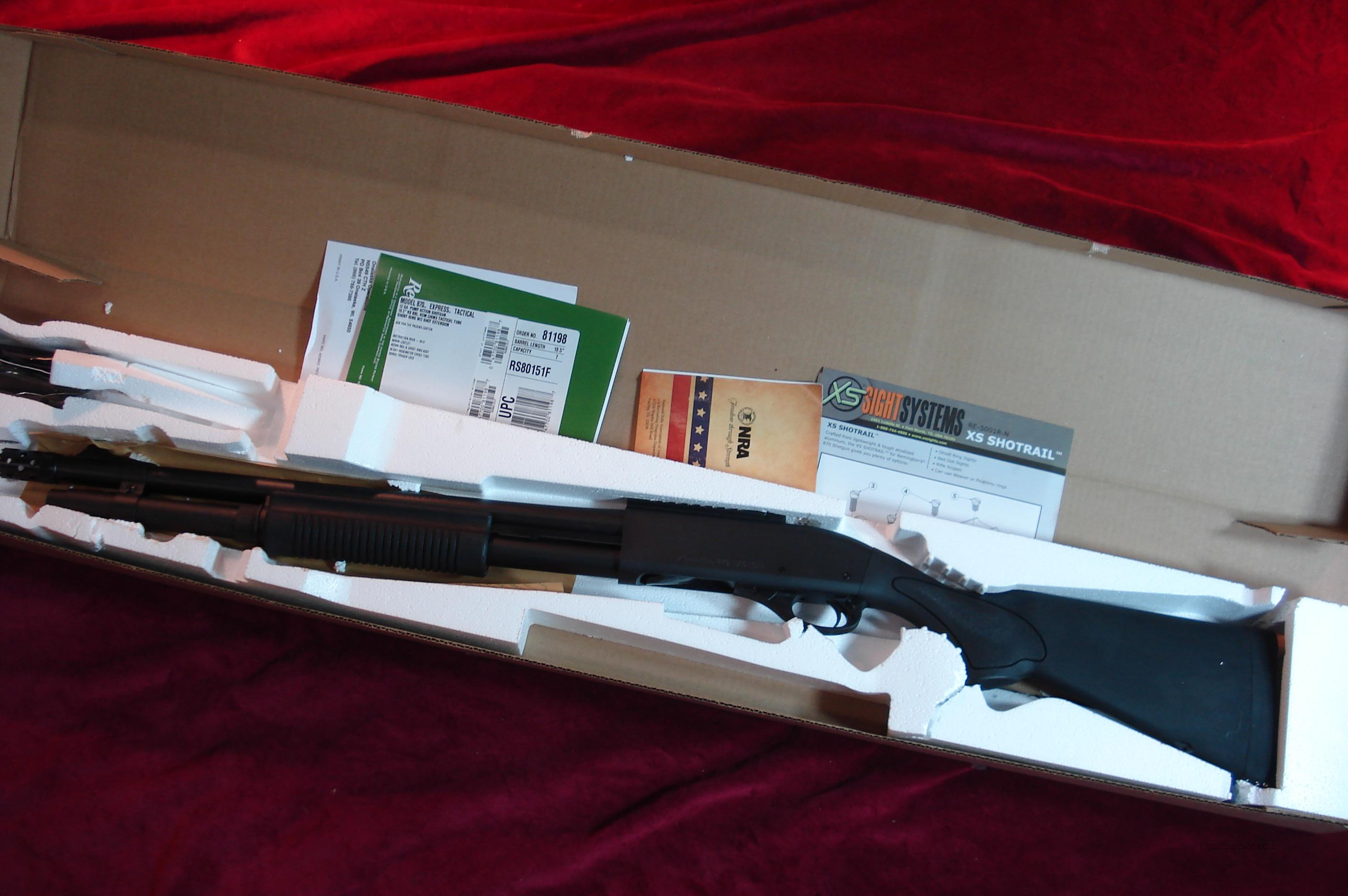 REMINGTON 870 TACTICAL 12G MAGNUM XS GHOST RING SIGHT AND EXTENDED MAGAZINE NEW   Guns > Shotguns > Remington Shotguns  > Pump > Tactical