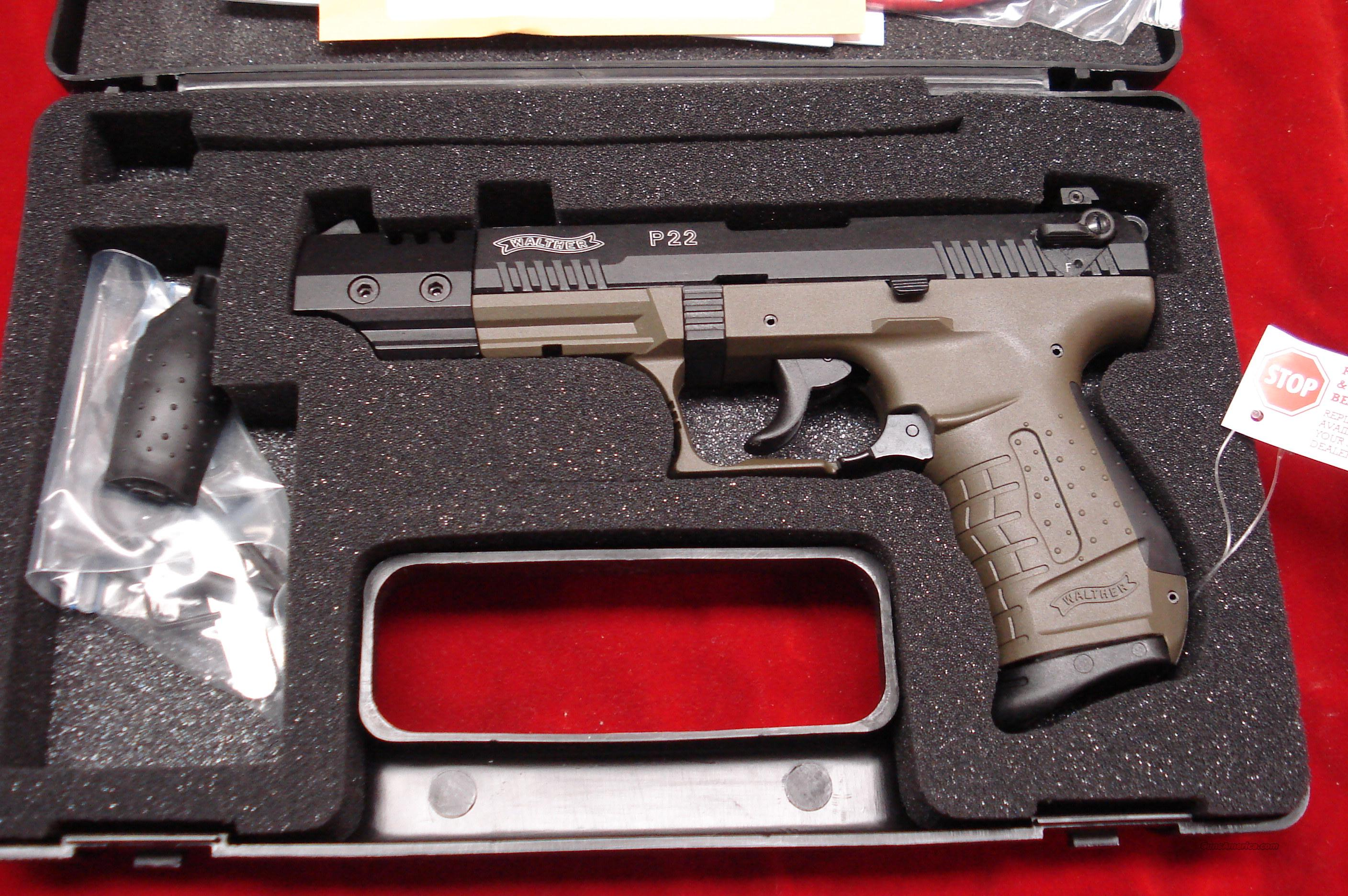 "WALTHER P22 5"" OD GREEN NEW  Guns > Pistols > Walther Pistols > Post WWII > Target Pistols"