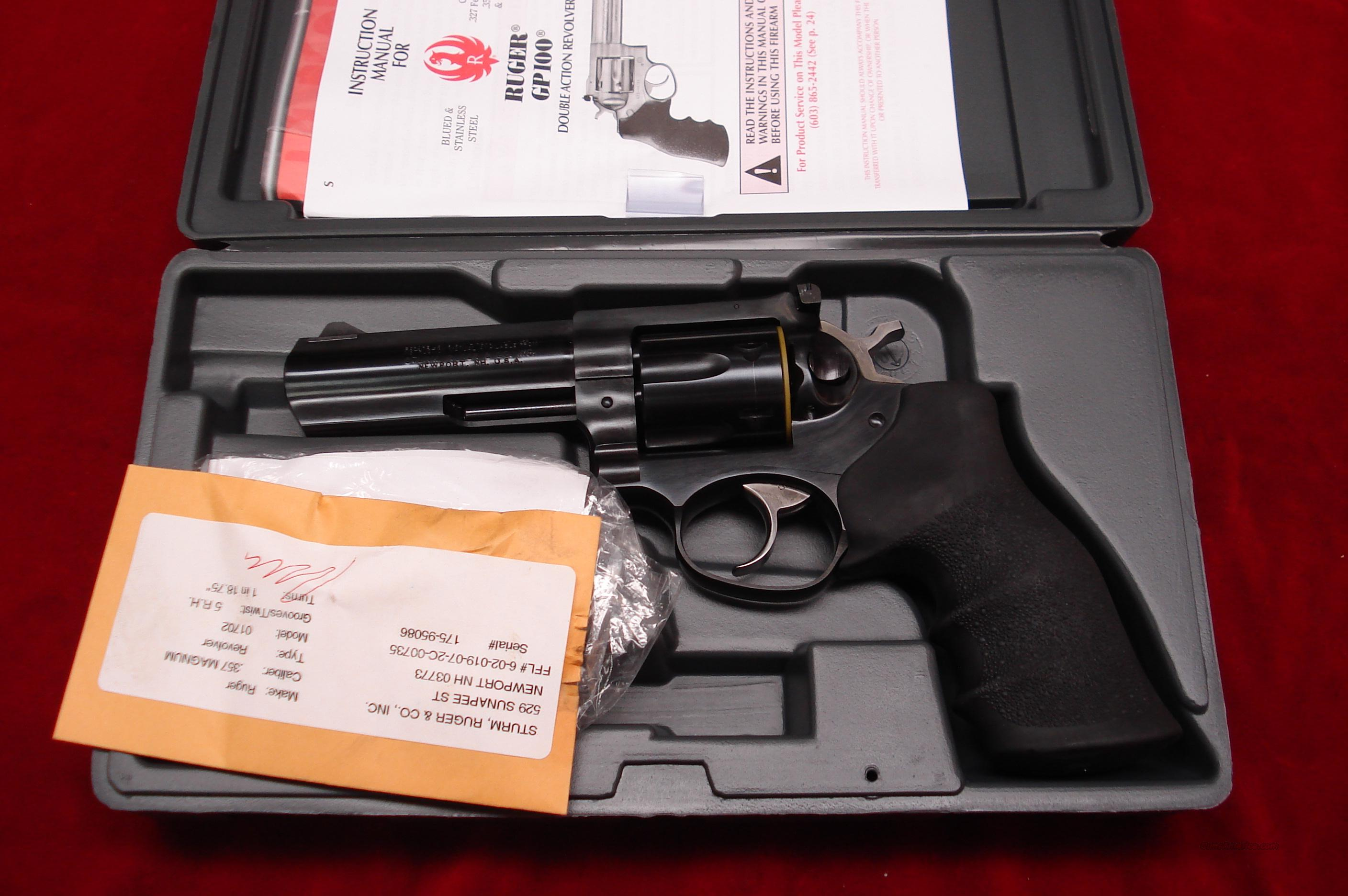 "RUGER GP100 4"" BLUE 357MAG NEW (GP-141)  Guns > Pistols > Ruger Double Action Revolver > Security Six Type"