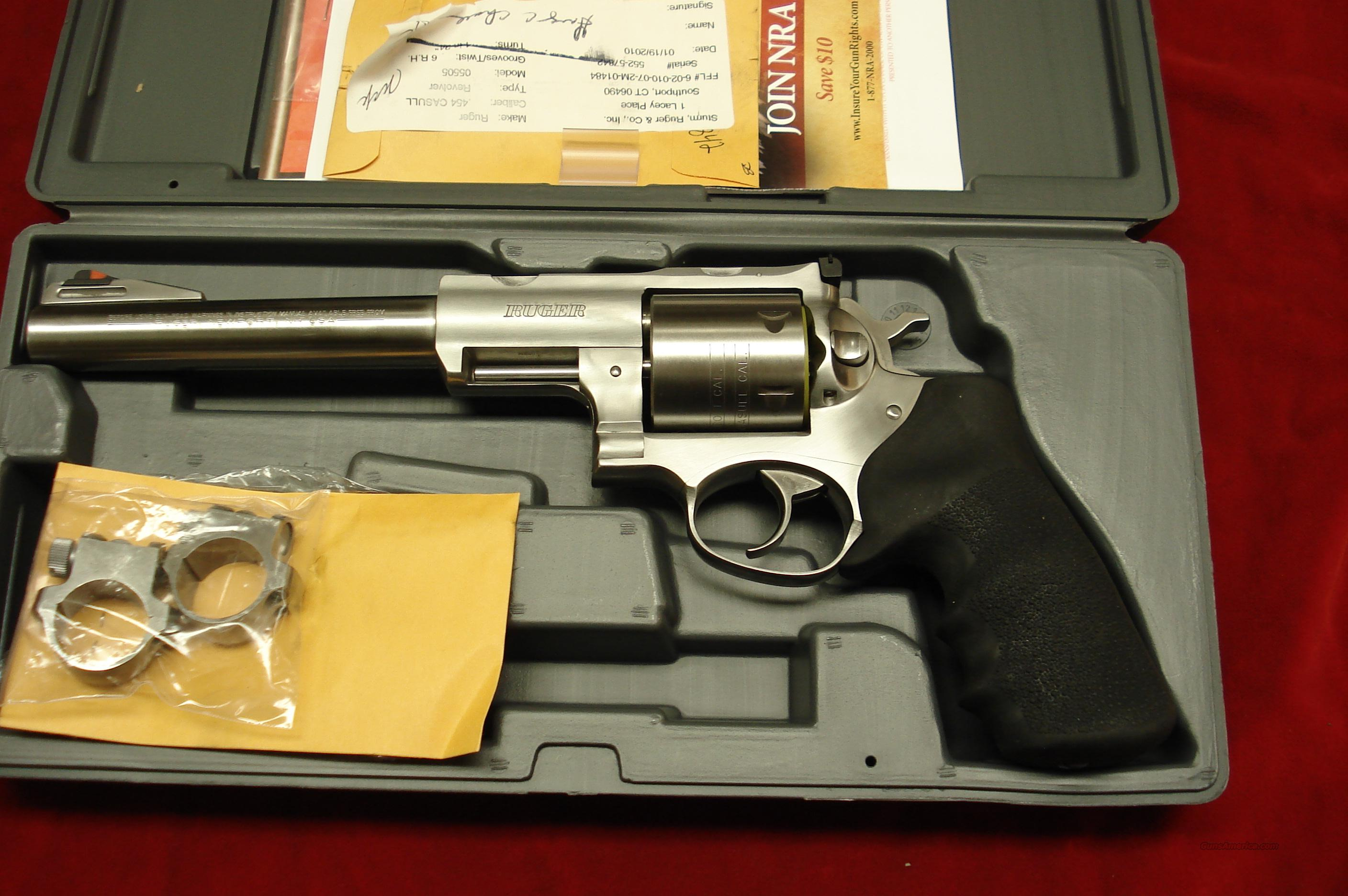 "RUGER SUPER REDHAWK HUNTER 7.5"" STAINLESS 454CASULL WITH RINGS NEW IN THE BOX (KSRH-7454)  Guns > Pistols > Ruger Double Action Revolver > Redhawk Type"