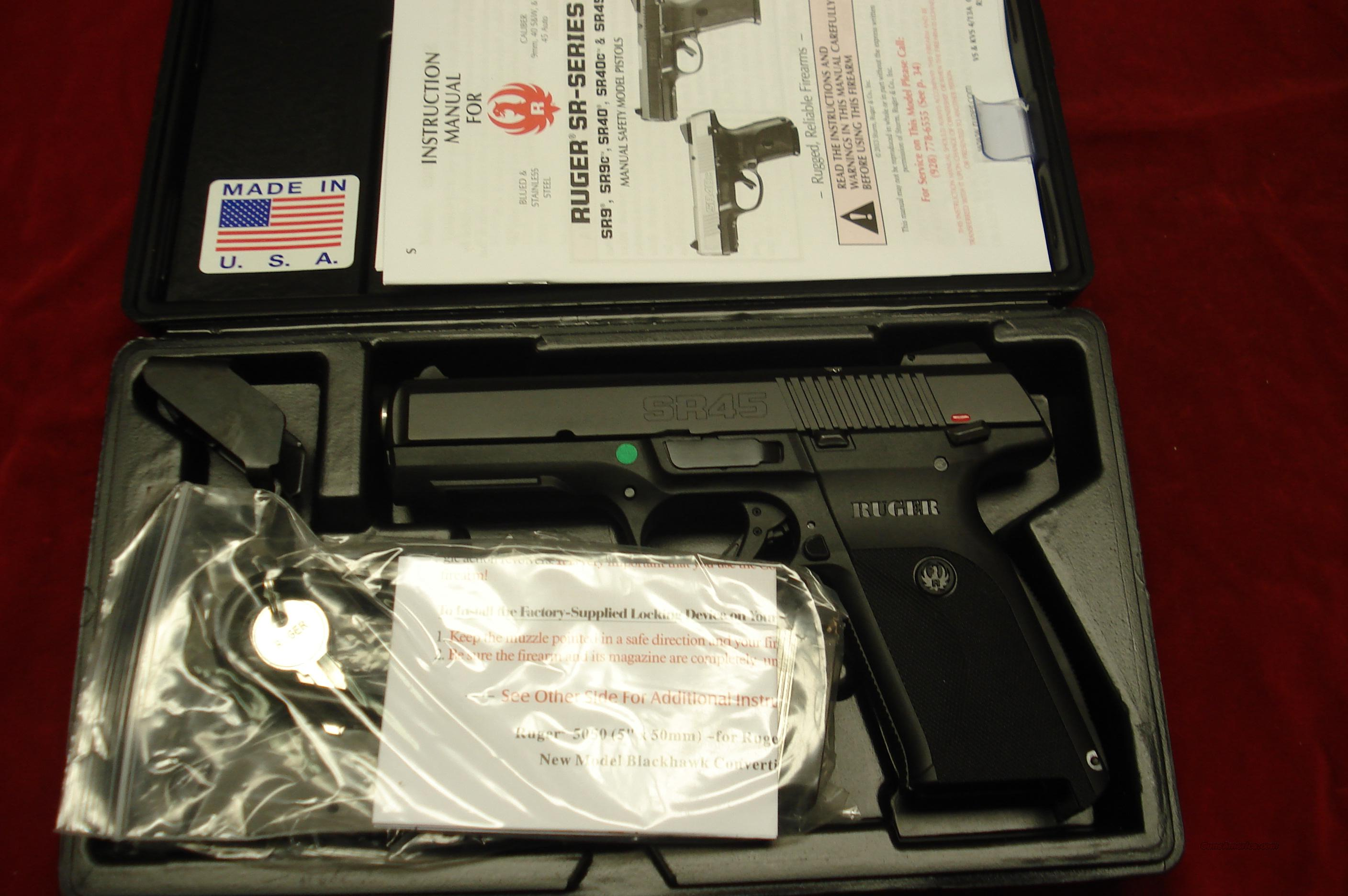 RUGER SR45 BLACK NEW (IN STOCK)! (BSR45)  Guns > Pistols > Ruger Semi-Auto Pistols > P-Series