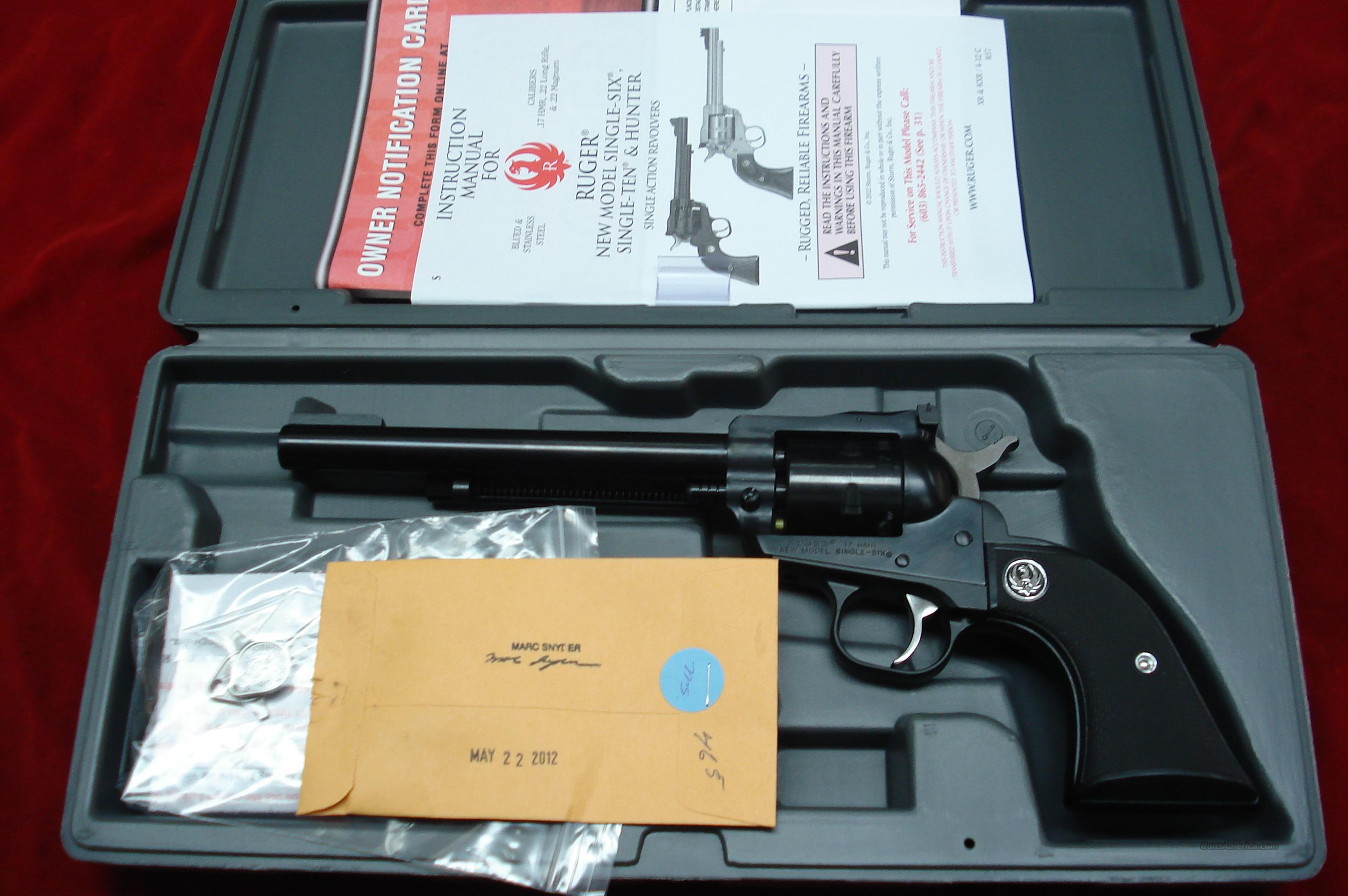 "RUGER .17HMR SINGLE-SIX BLUE 6.5"" NEW (NR-6L-17)  Guns > Pistols > Ruger Single Action Revolvers > Single Six Type"