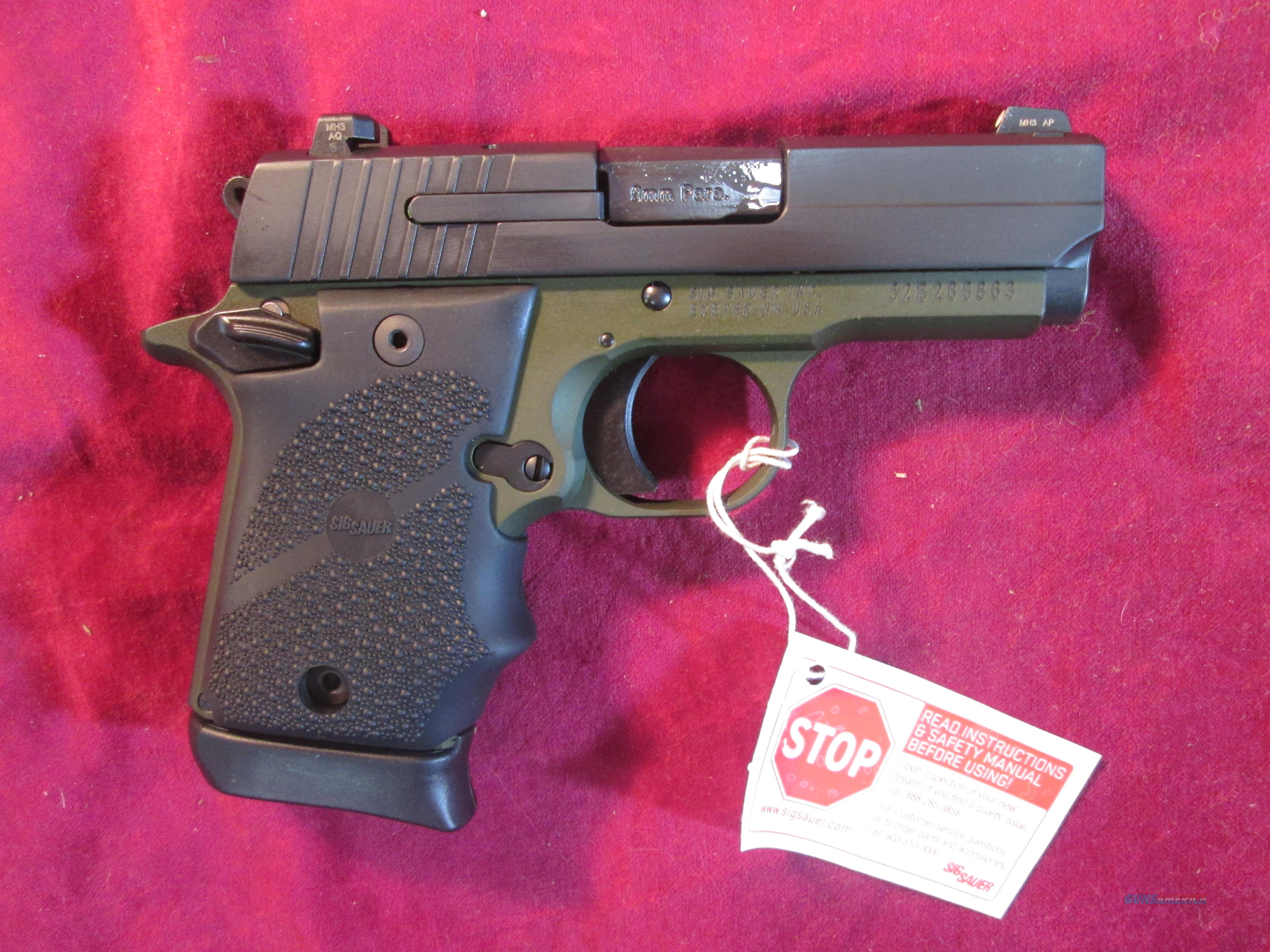SIG SAUER 938 9MM ARMY GREEN W/ NIGHT SIGHTS NEW ( 938-9-AGF-AMBI)  Guns > Pistols > Sig - Sauer/Sigarms Pistols > P938