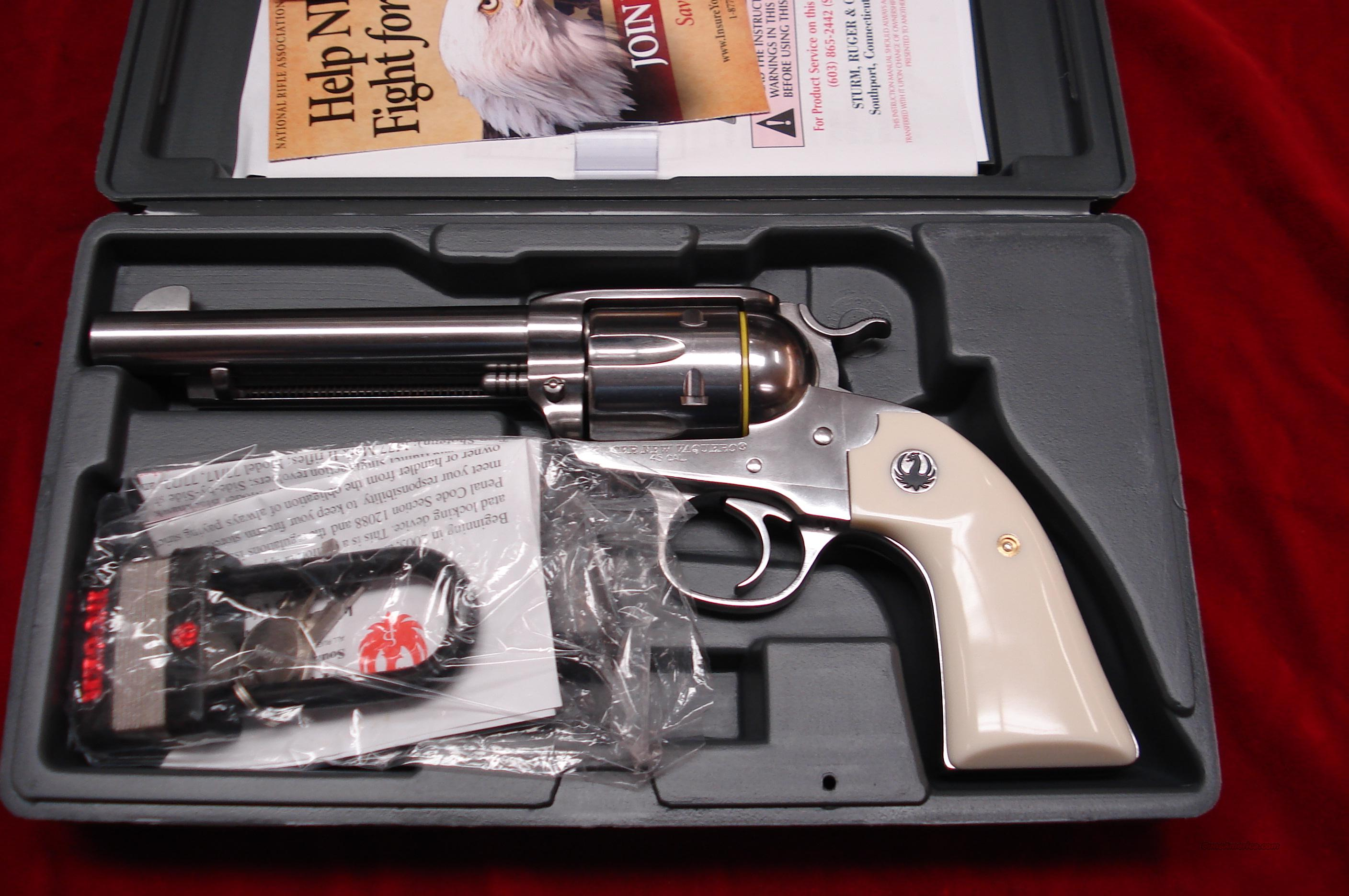 RUGER BISLEY VAQUERO 45 COLT POLISHED STAINLESS NEW   (KNVRB-455)  Guns > Pistols > Ruger Single Action Revolvers > Cowboy Action