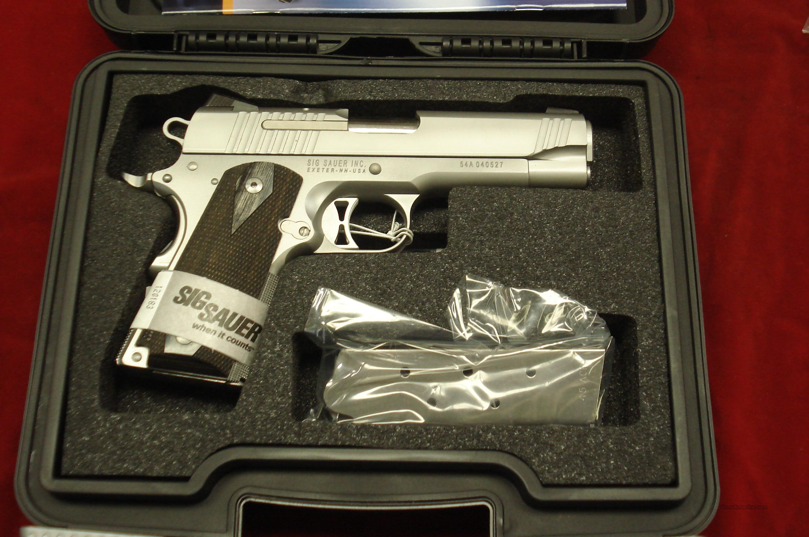 SIG SAUER 1911 COMPACT STAINLESS 45CAL. WITH NIGHT SIGHTS NEW  Guns > Pistols > Sig - Sauer/Sigarms Pistols > 1911