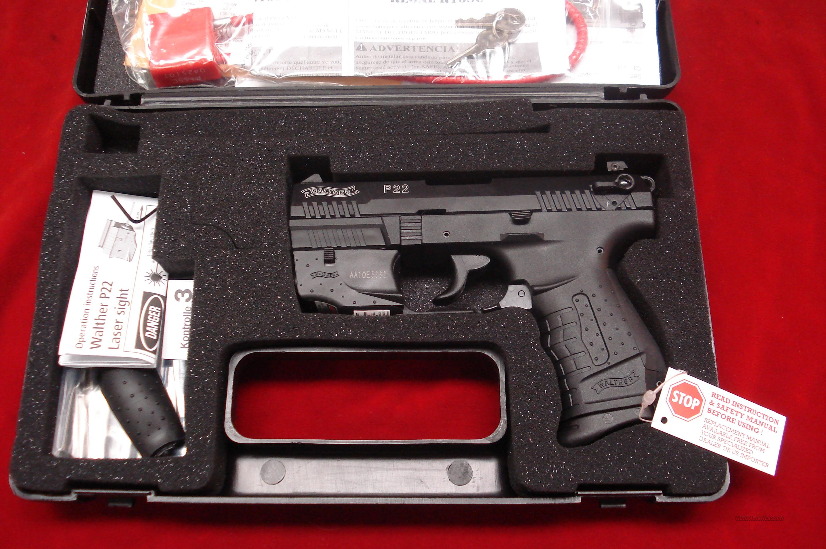 "WALTHER P22 3.42"" WITH FACTORY LASER NEW  Guns > Pistols > Walther Pistols > Post WWII > Target Pistols"