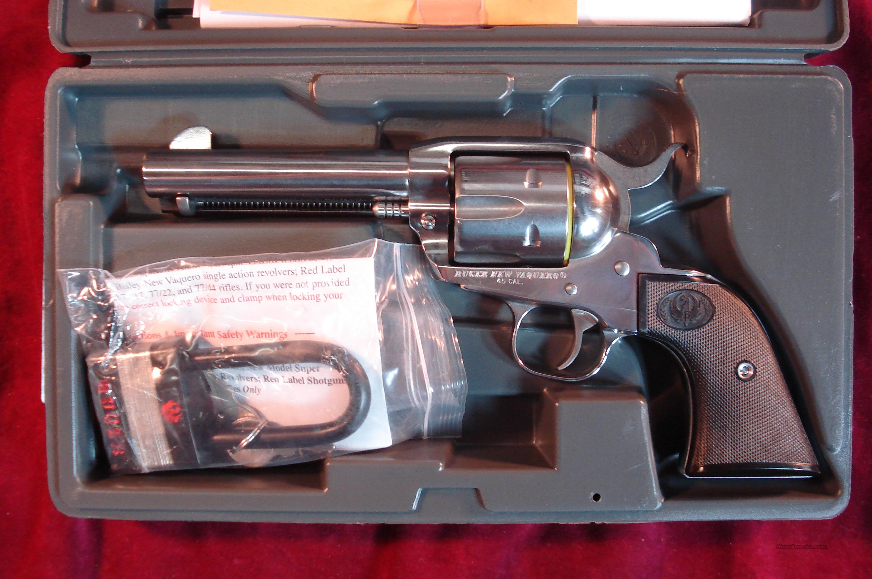 "RUGER POLISHED STAINLESS VAQUERO 45 COLT 4 5/8"" NEW (KNV-44)  Guns > Pistols > Ruger Single Action Revolvers > Cowboy Action"