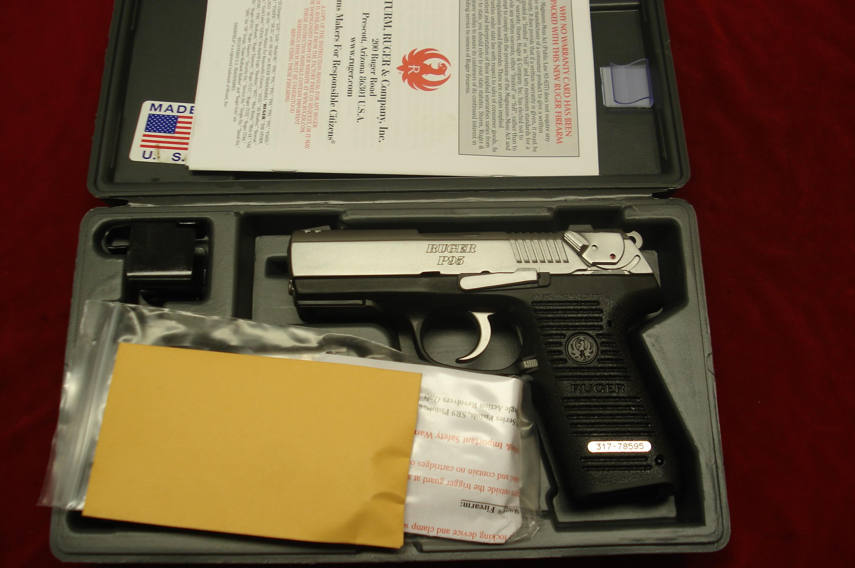 RUGER KP95 9MM STAINLESS WITH TAC RAIL NEW (KP95PR15)  Guns > Pistols > Ruger Semi-Auto Pistols > P-Series