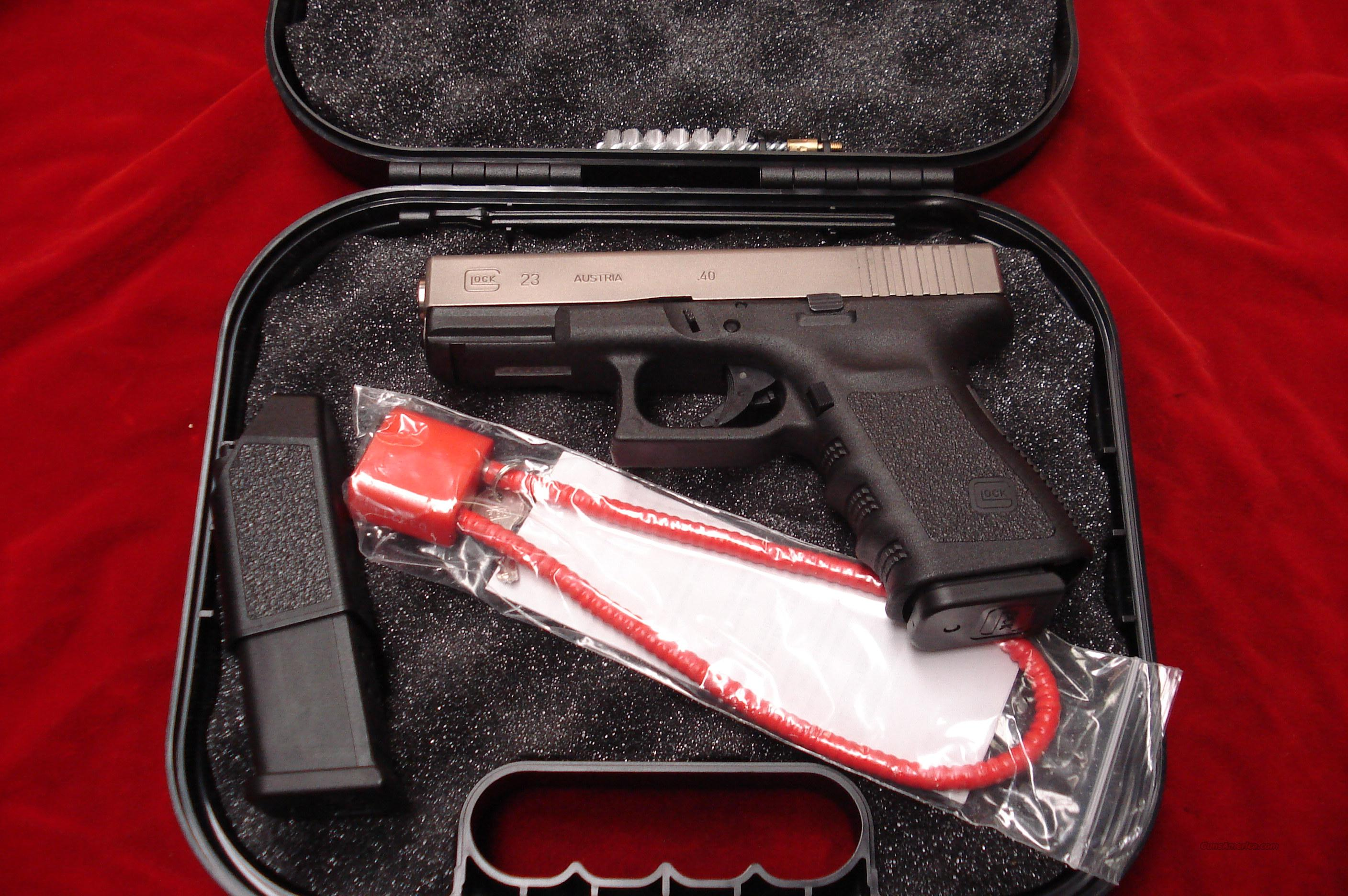 GLOCK MODEL 23 40CAL. NICKEL LNIB  Guns > Pistols > Glock Pistols > 23