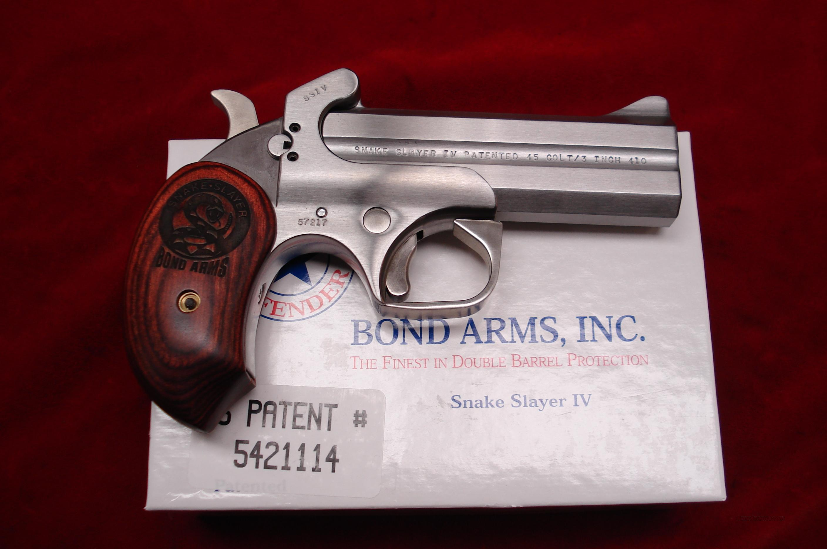 BOND ARMS SNAKE SLAYER IV 410G/45COLT STAINLESS DERRINGER NEW  Guns > Pistols > Bond Derringers