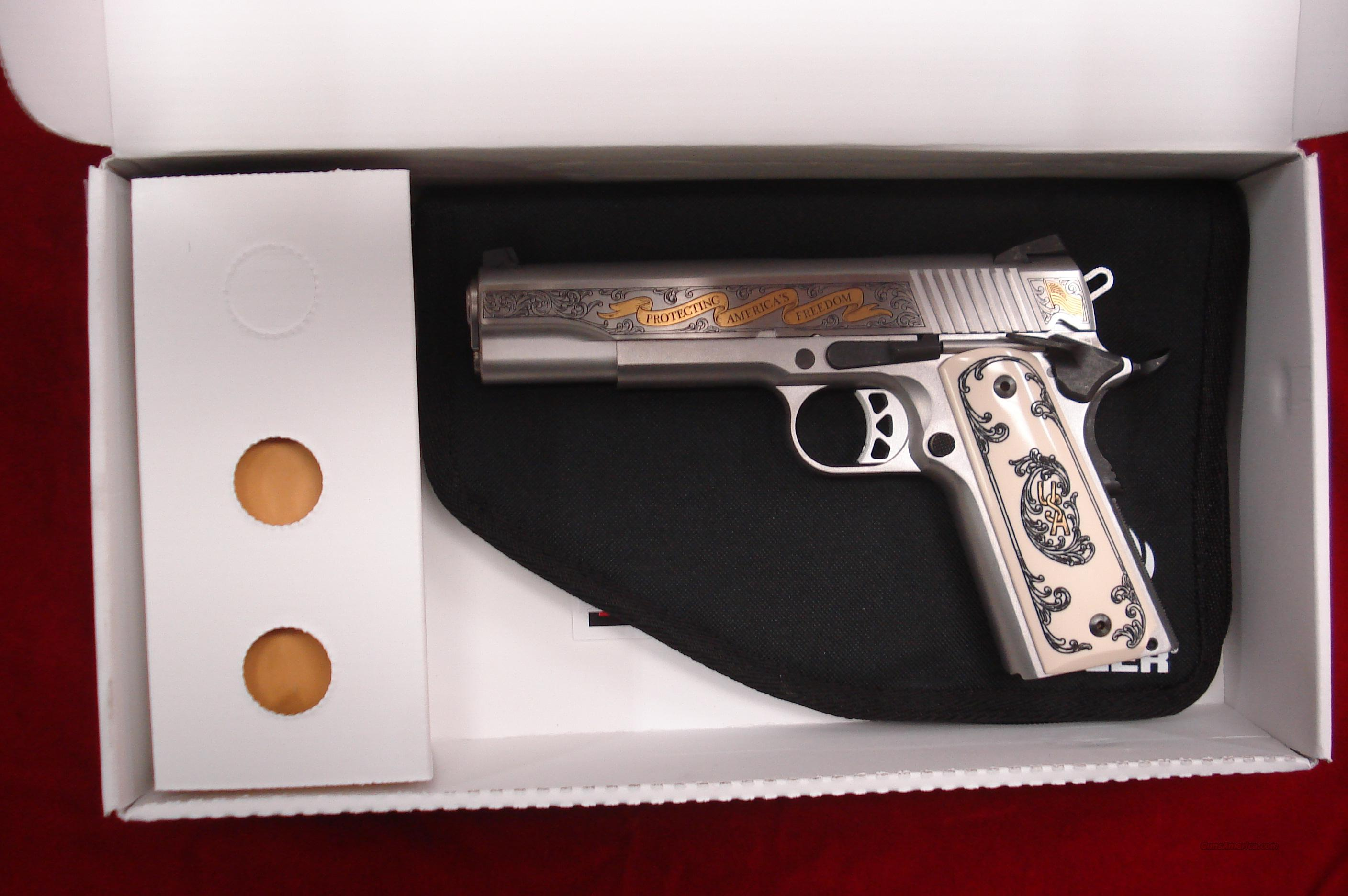 "RUGER SR-1911 45 ACP STAINLESS ENGRAVED ""FREEDOM ISNT FREE"" EDITION 1 OF 300 NEW  Guns > Pistols > Ruger Semi-Auto Pistols > SR9 & SR40"