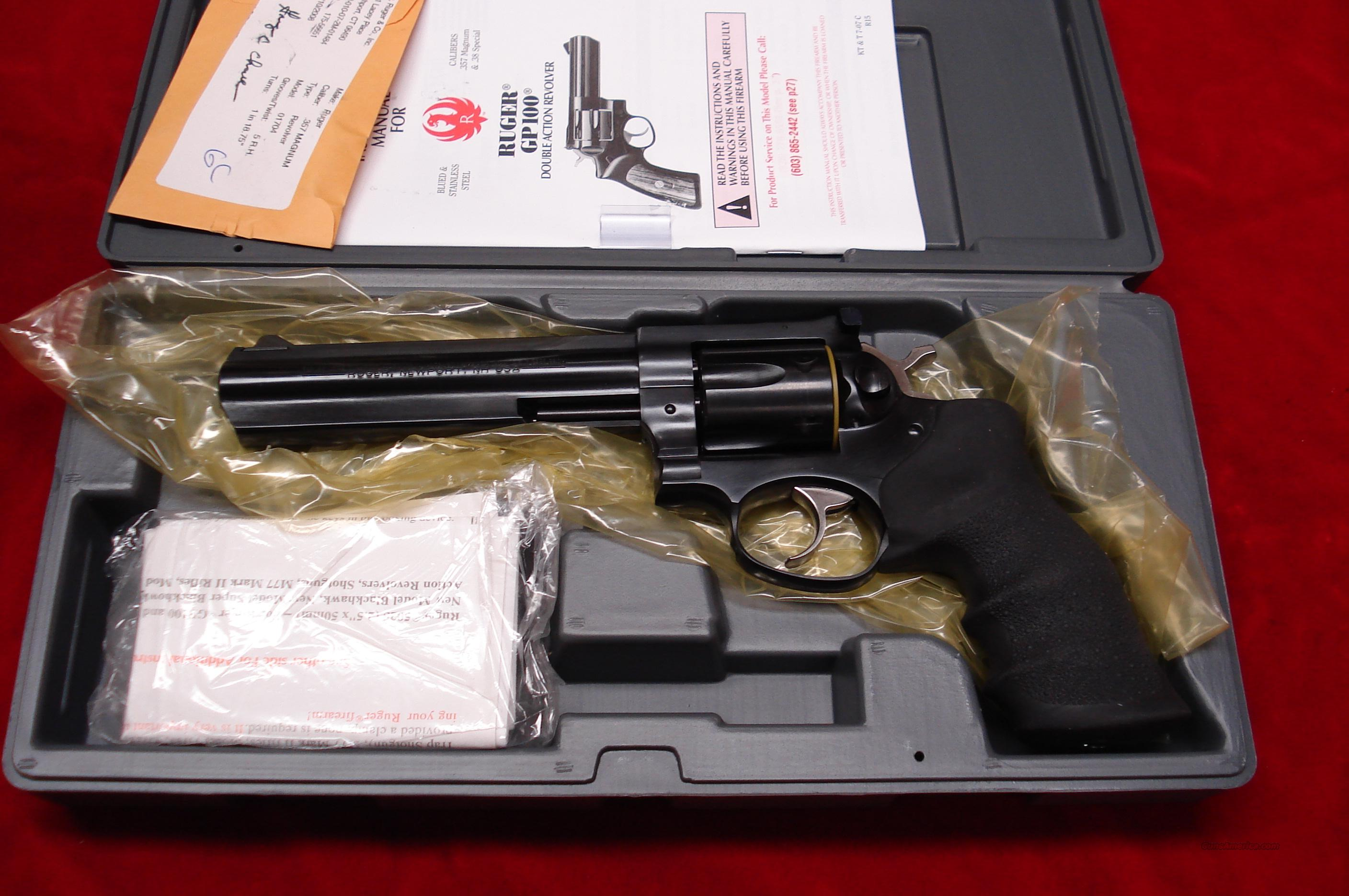 "RUGER  GP100 6"" BLUE 357MAG NEW   Guns > Pistols > Ruger Double Action Revolver > Security Six Type"