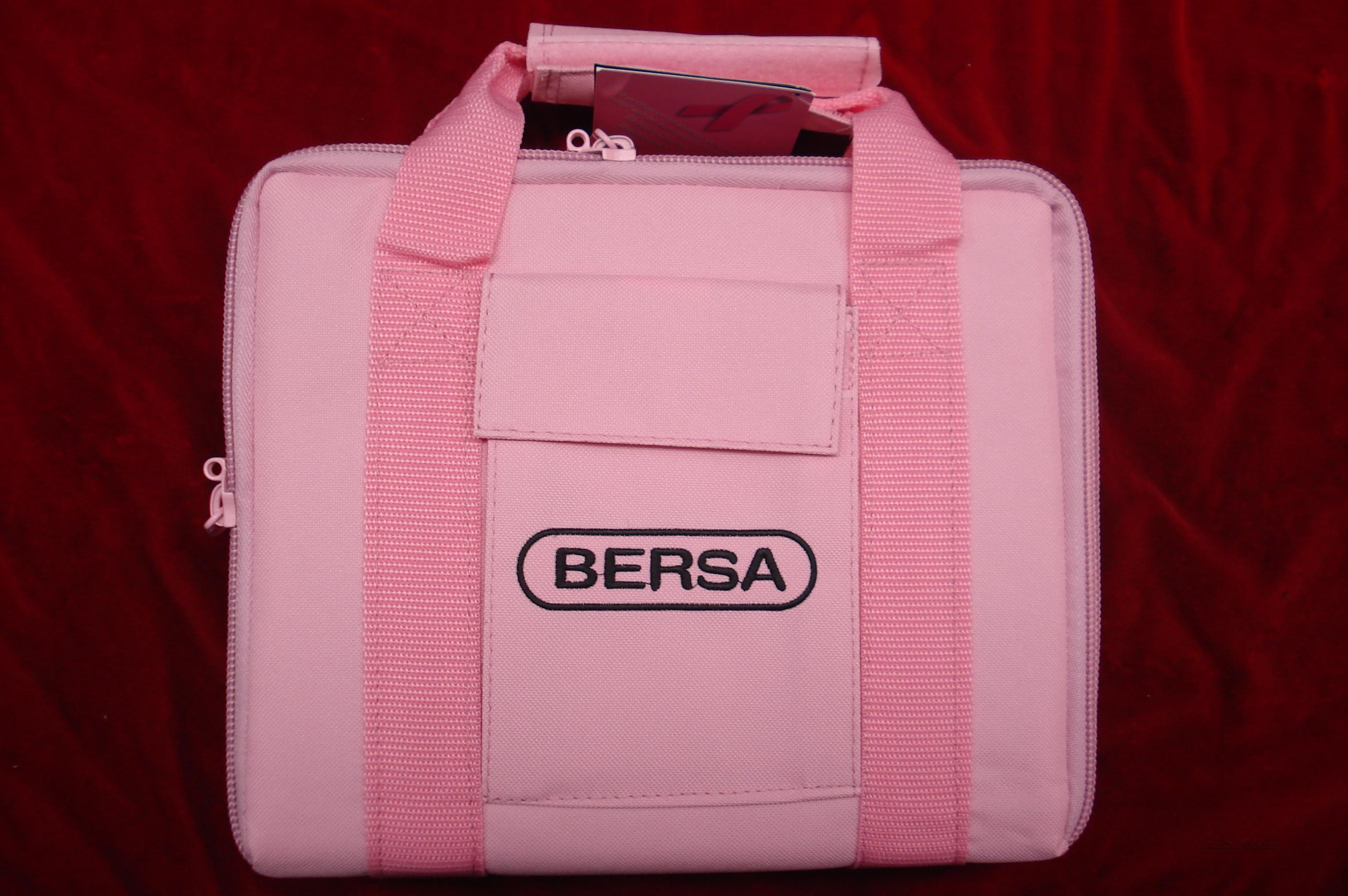 BERSA THUNDER 380CAL. WITH PINK GRIPS AND CASE NEW (BREAST CANCER AWARENESS)  Guns > Pistols > Bersa Pistols