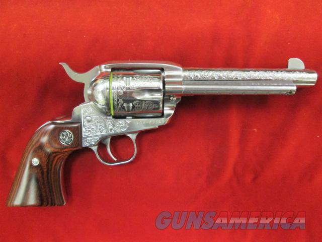 "RUGER STAINLESS DELUXE ENGRAVED VAQUERO 45COLT 5.5"" NEW  Guns > Pistols > Ruger Single Action Revolvers > Cowboy Action"