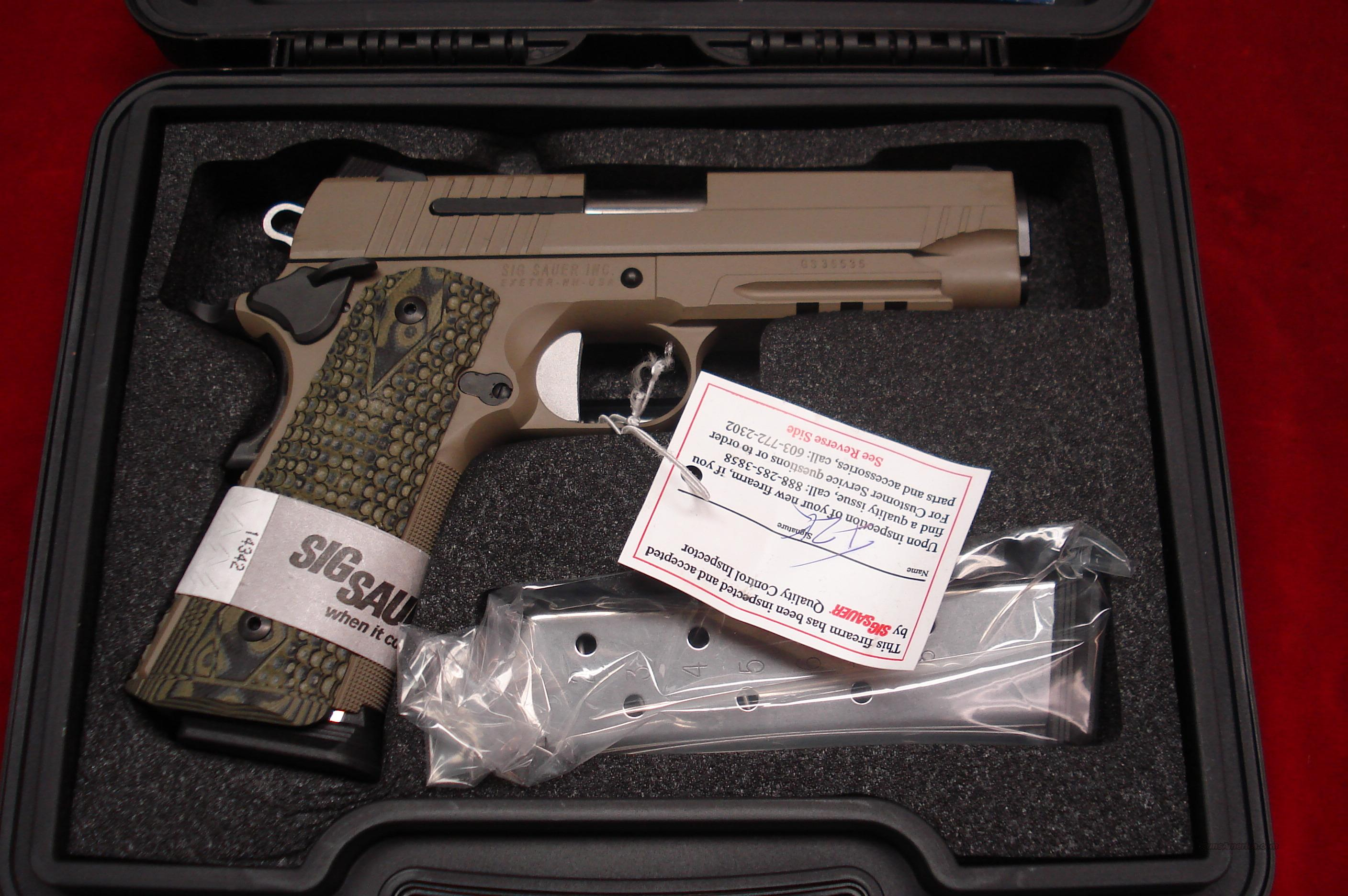 SIG SAUER 1911 CARRY SCORPION FLAT DARK EARTH WITH TAC RAIL AND NIGHT SIGHTS NEW  Guns > Pistols > Sig - Sauer/Sigarms Pistols > 1911
