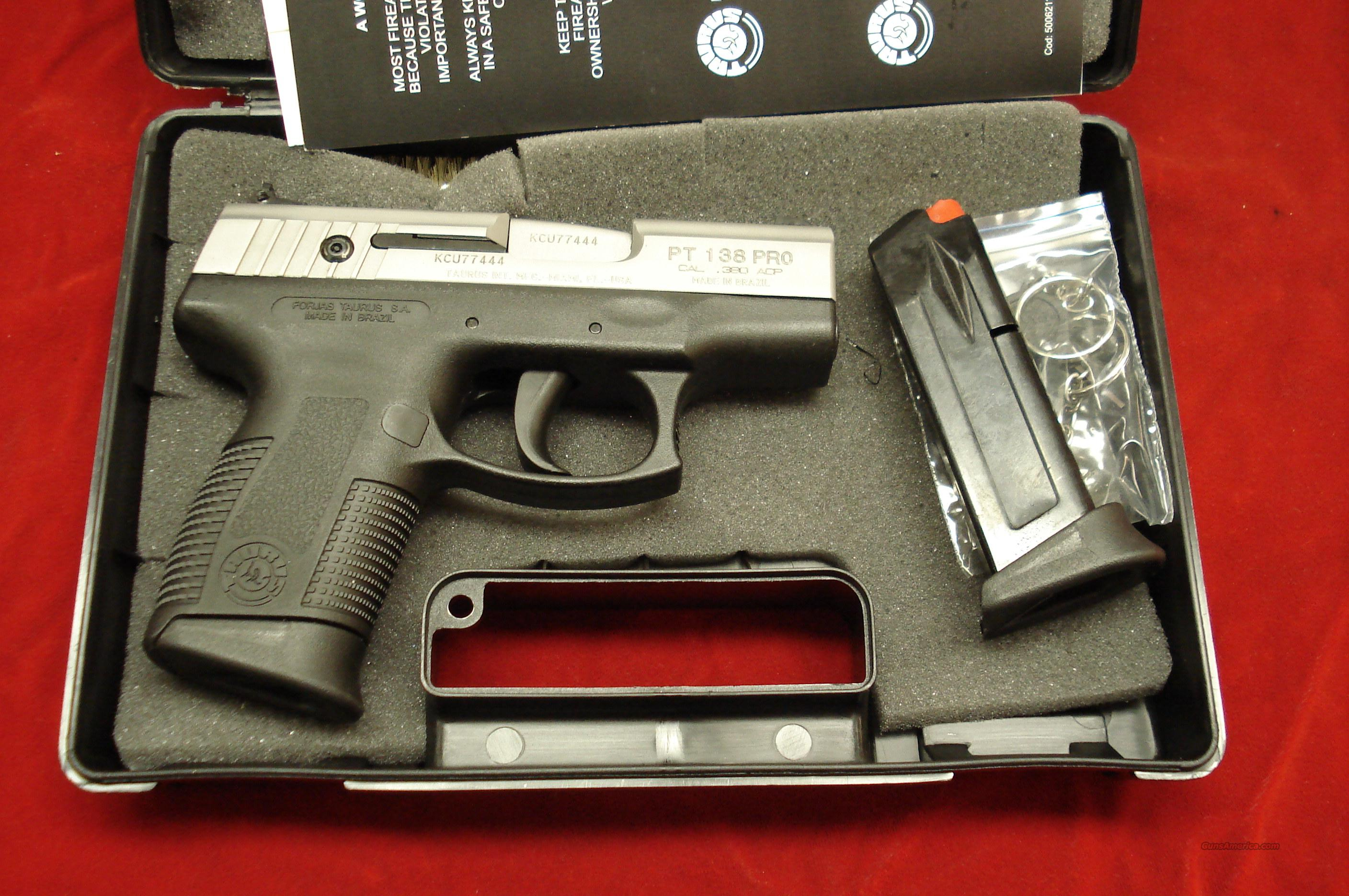TAURUS PT138 STAINLESS MILLENNIUM PRO 380 CAL. NEW   Guns > Pistols > Taurus Pistols/Revolvers > Pistols > Polymer Frame