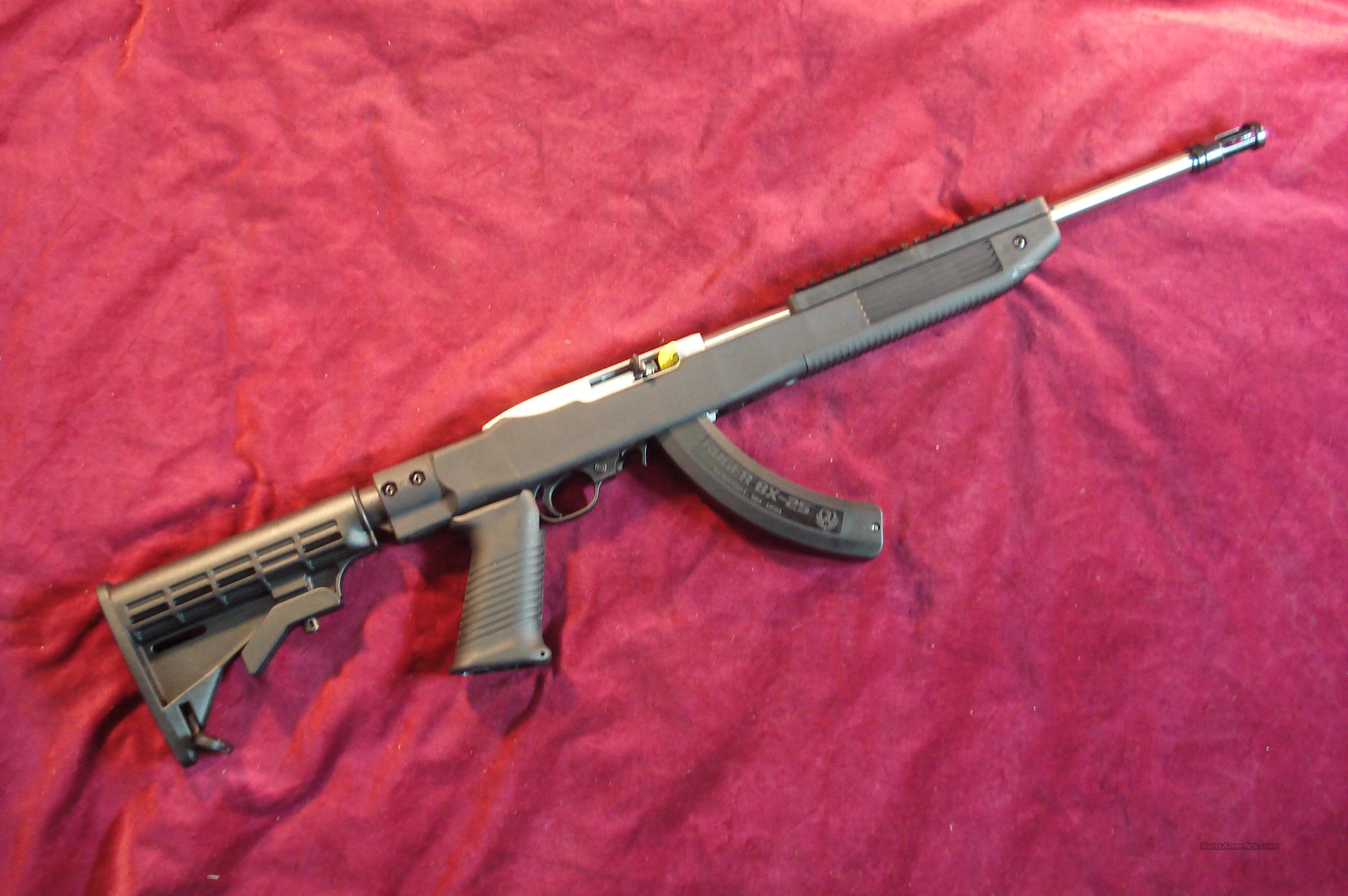 RUGER STAINLESS 10/22 TACTICAL WITH TAPCO STOCK AND FACTORY 25 ROUND MAG NEW  Guns > Rifles > Ruger Rifles > 10-22